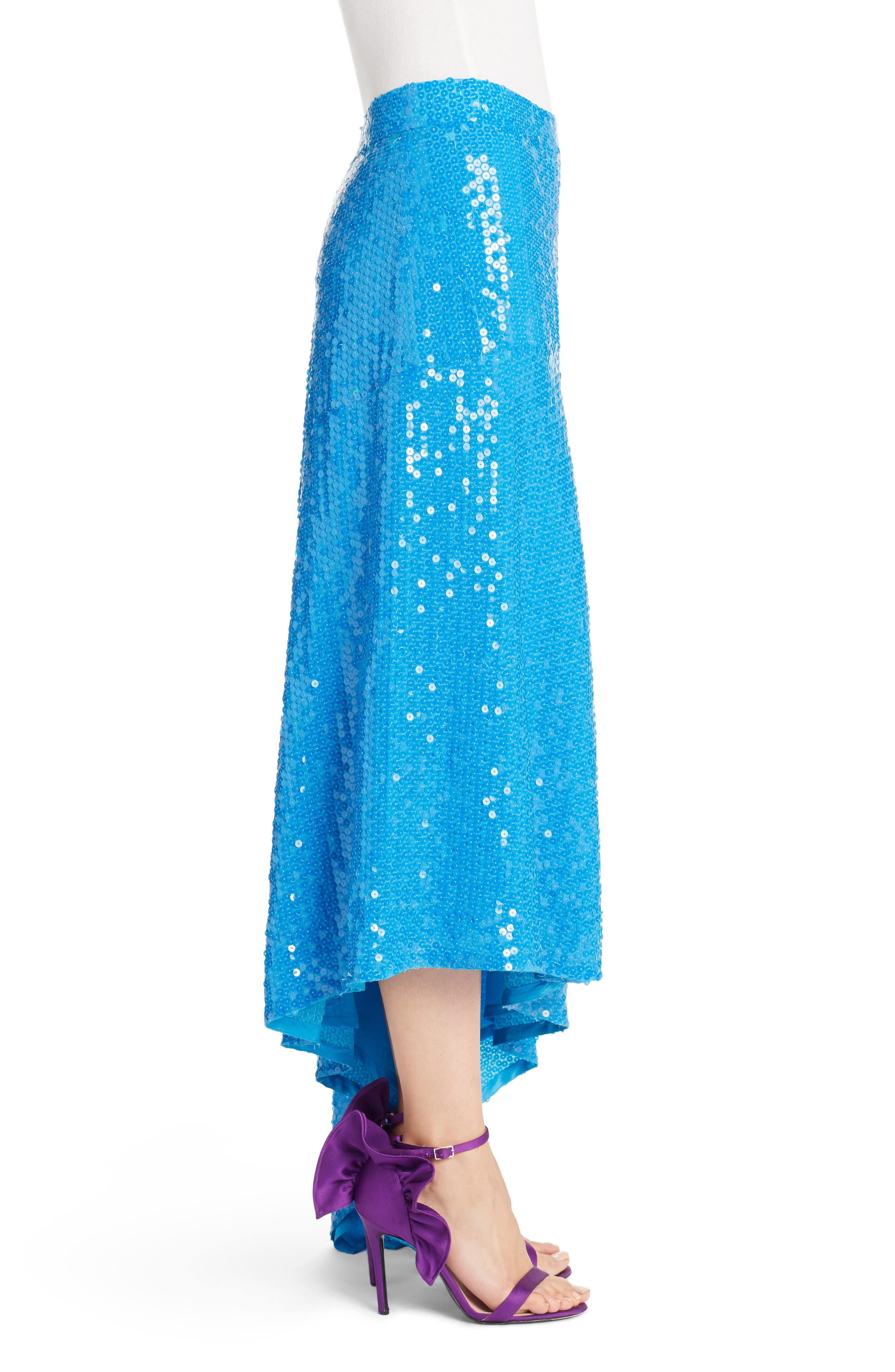 Asymmetrical Sequin Skirt,                             Alternate thumbnail 3, color,                             Blue