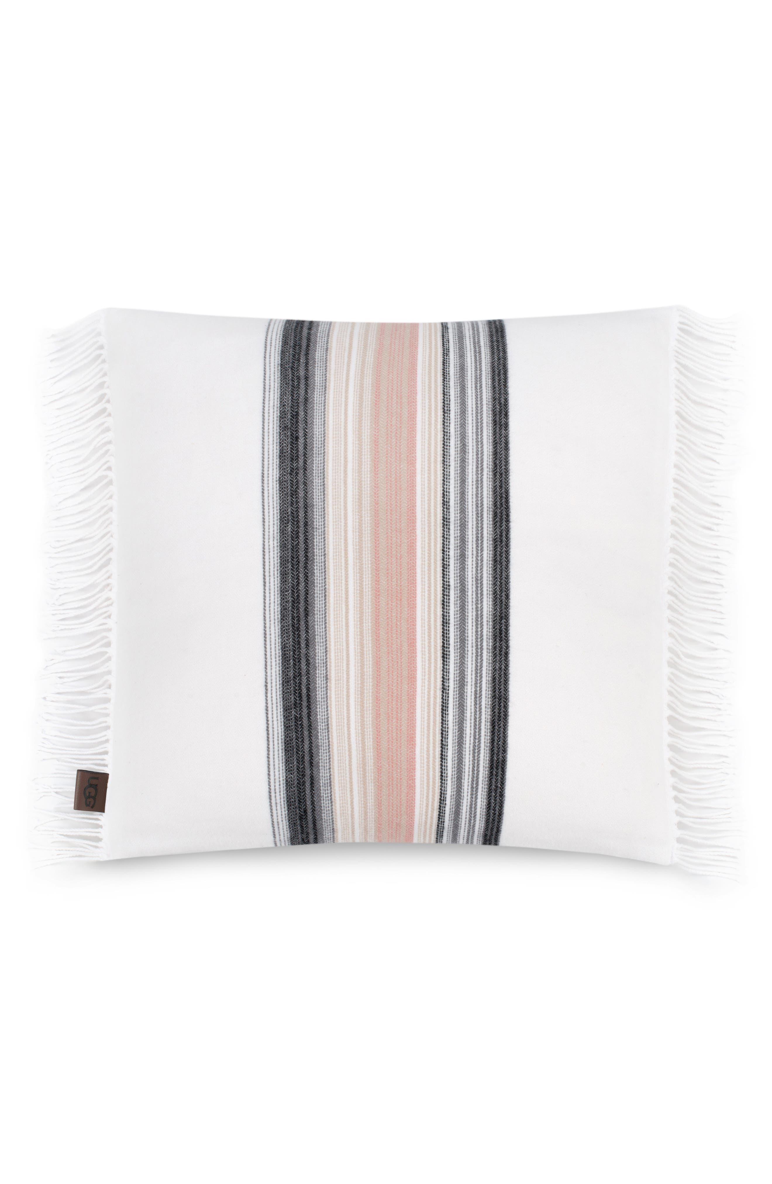 Amari Stripe Accent Pillow,                             Main thumbnail 1, color,                             Snow
