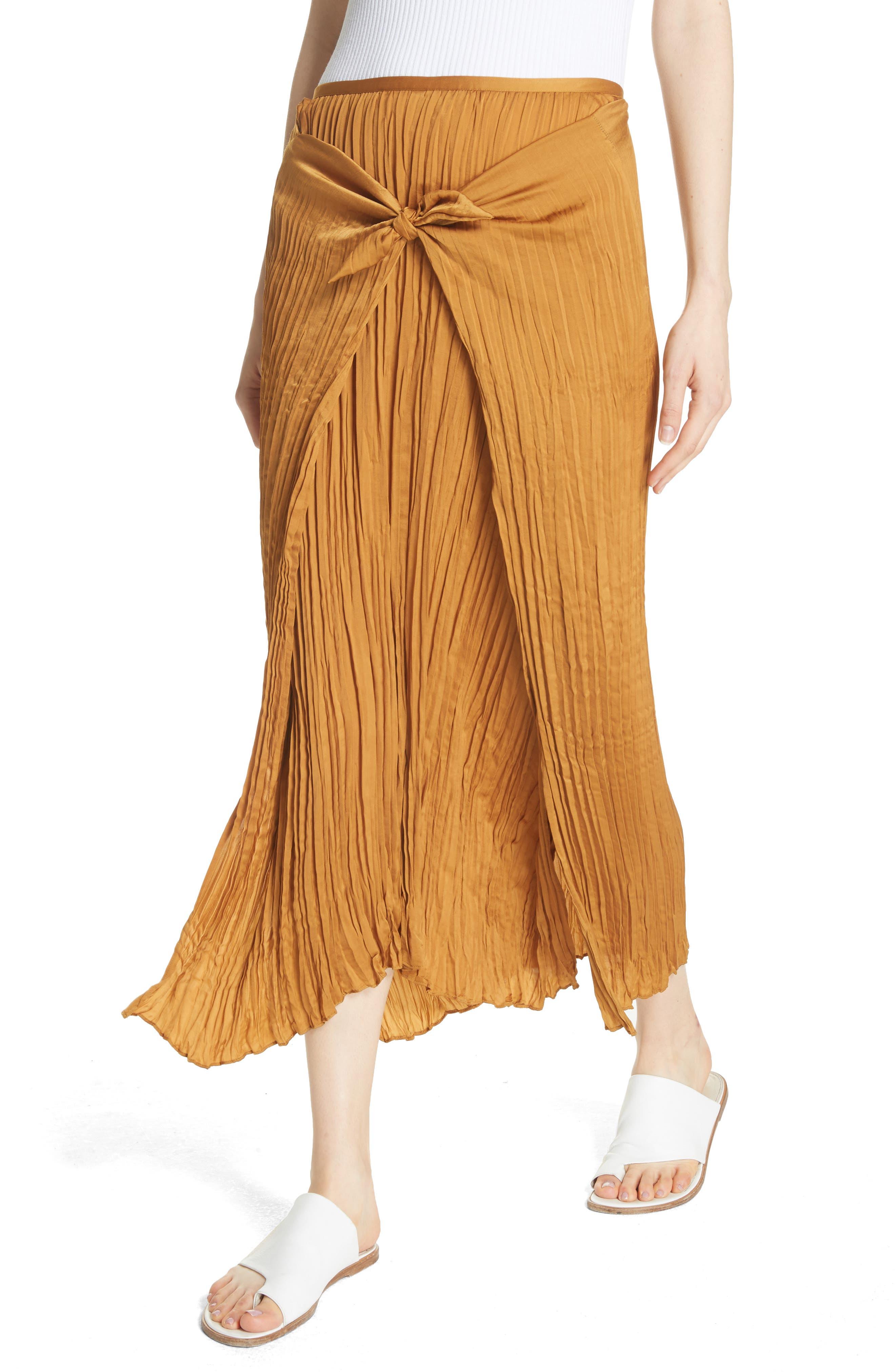 Pleated Tie Front Midi Skirt,                             Alternate thumbnail 4, color,                             Turmeric