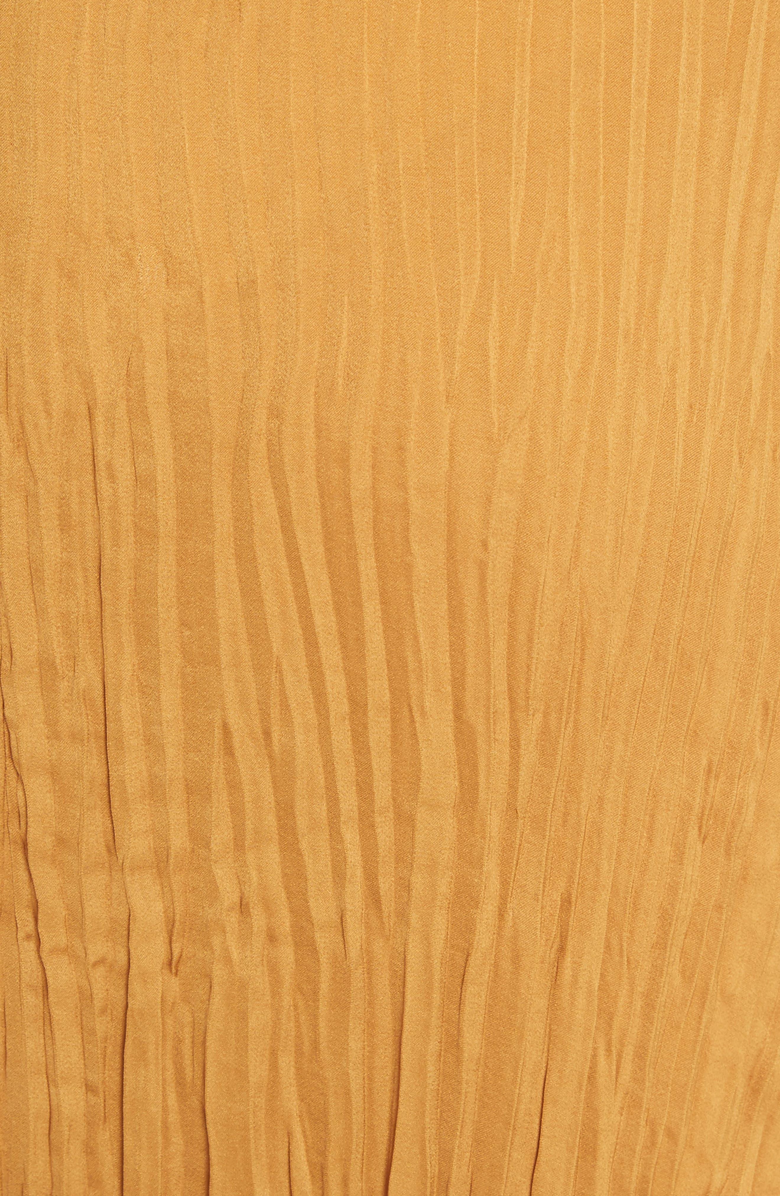 Pleated Tie Front Midi Skirt,                             Alternate thumbnail 5, color,                             Turmeric