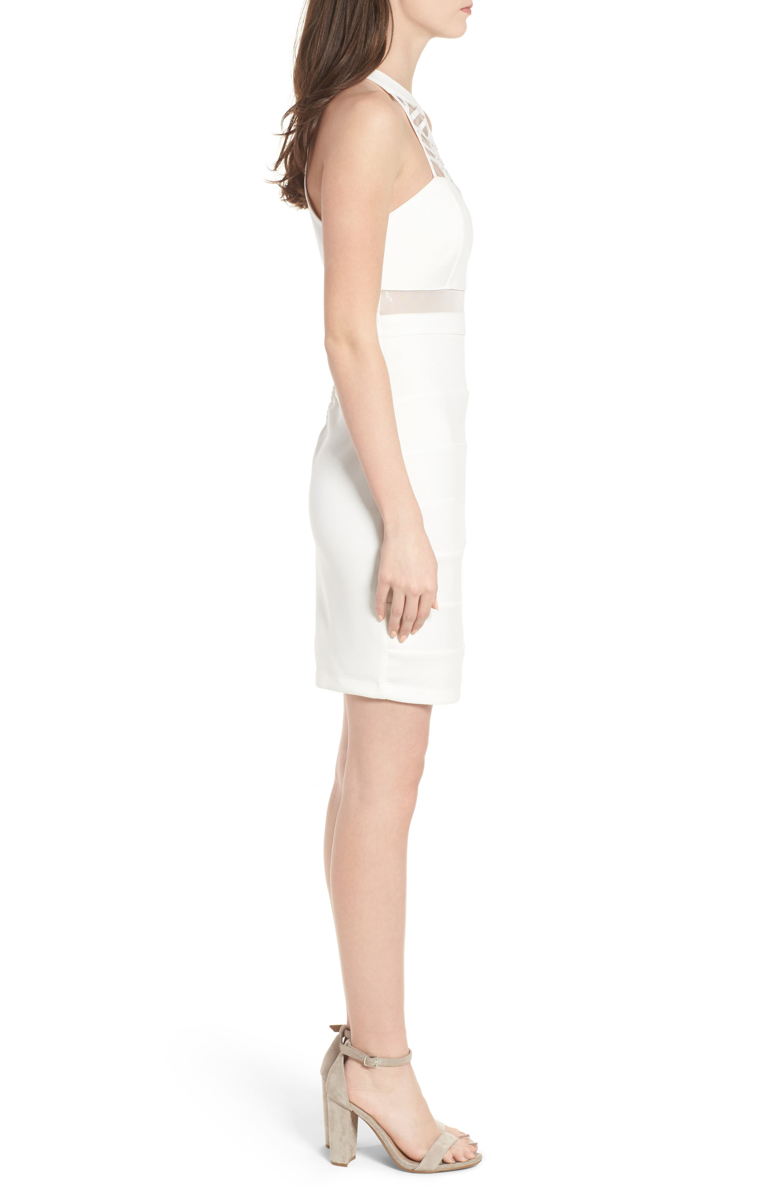 Strappy Neck Body-Con Dress,                             Alternate thumbnail 3, color,                             Ivory