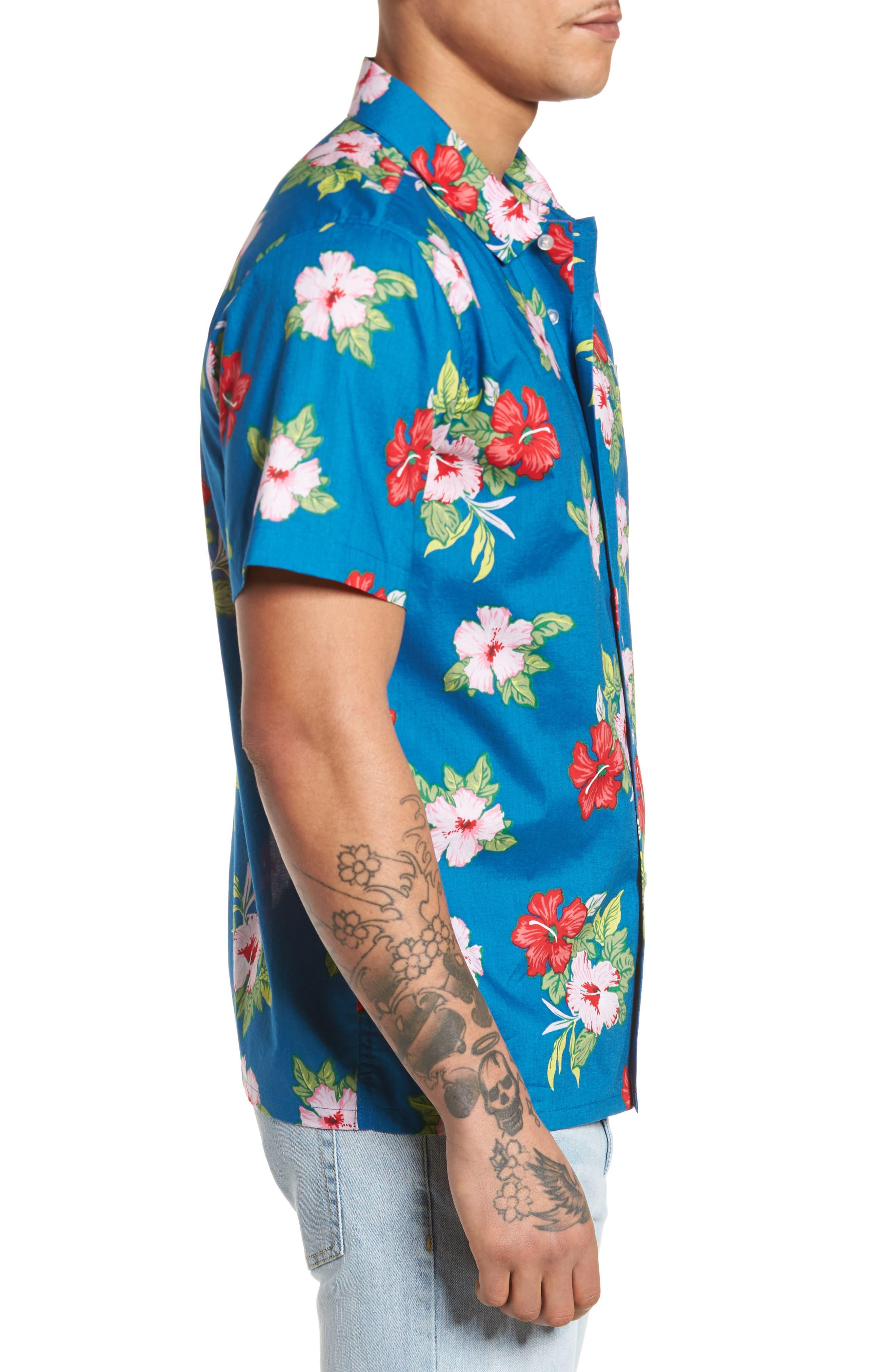 Kane Woven Shirt,                             Alternate thumbnail 3, color,                             Navy Multi