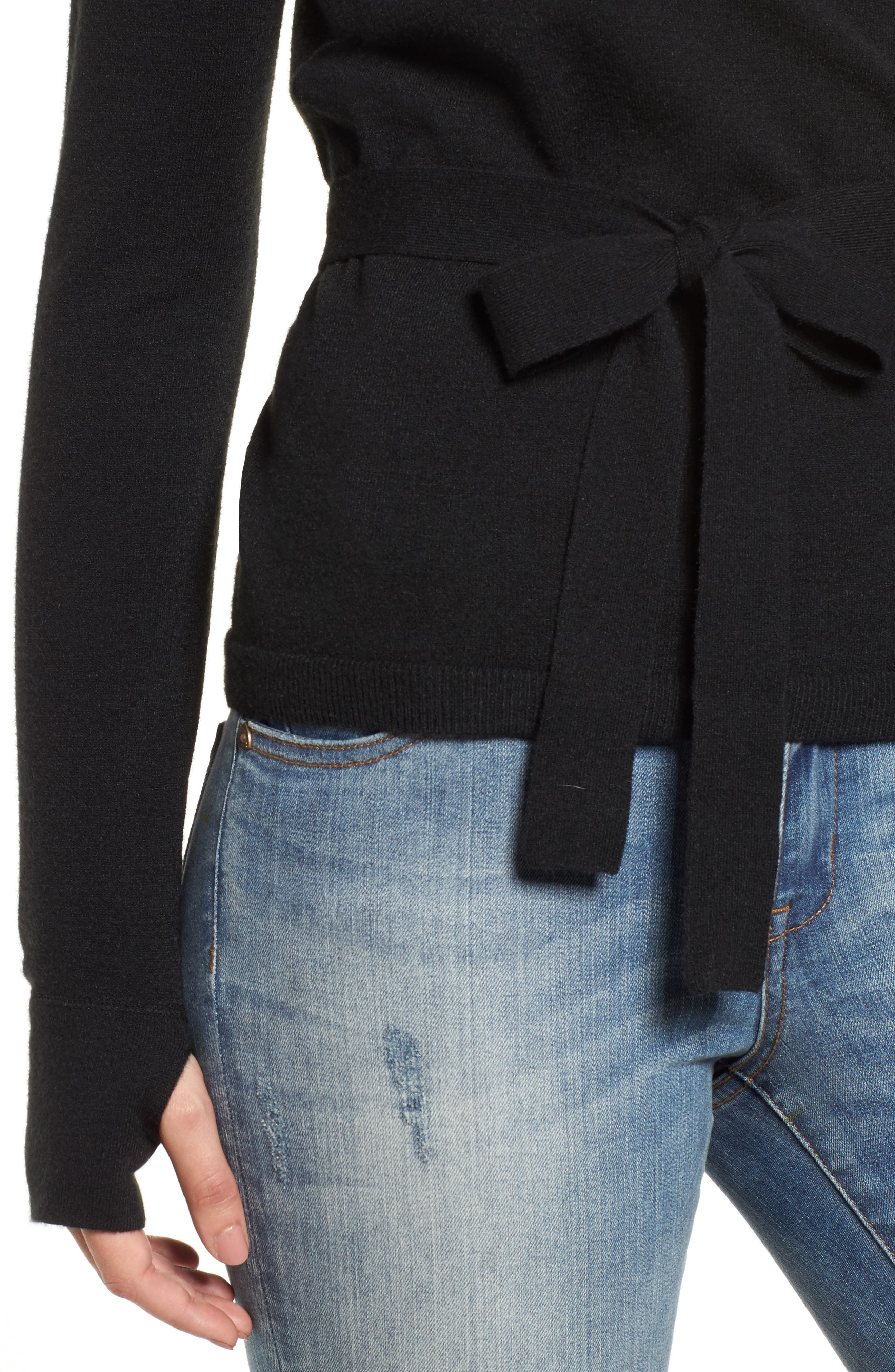 Off-Duty Ballet Tie Front Sweater,                             Alternate thumbnail 5, color,                             Black