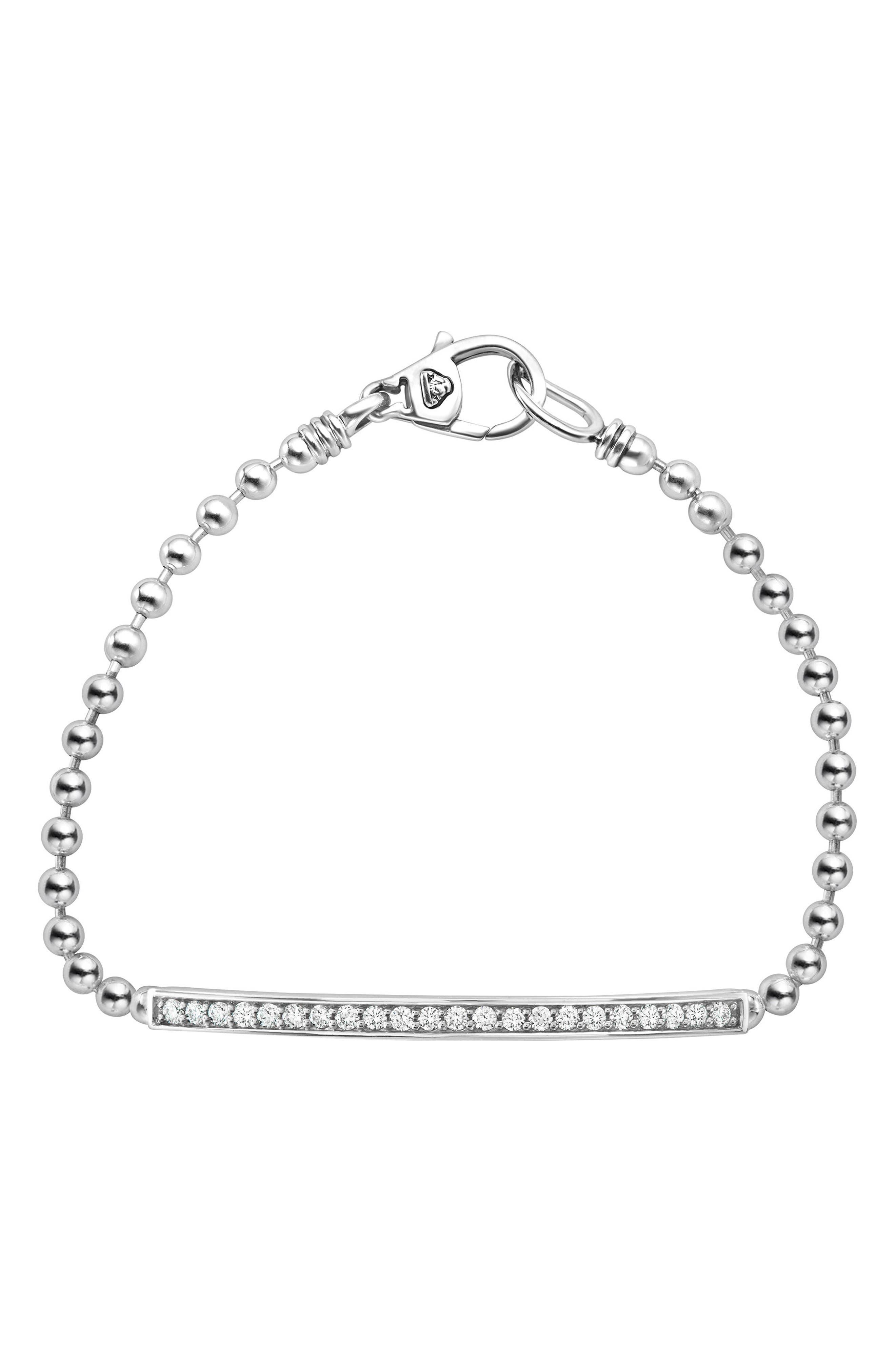Caviar Spark Diamond Bracelet,                             Main thumbnail 1, color,                             Silver/ Diamond