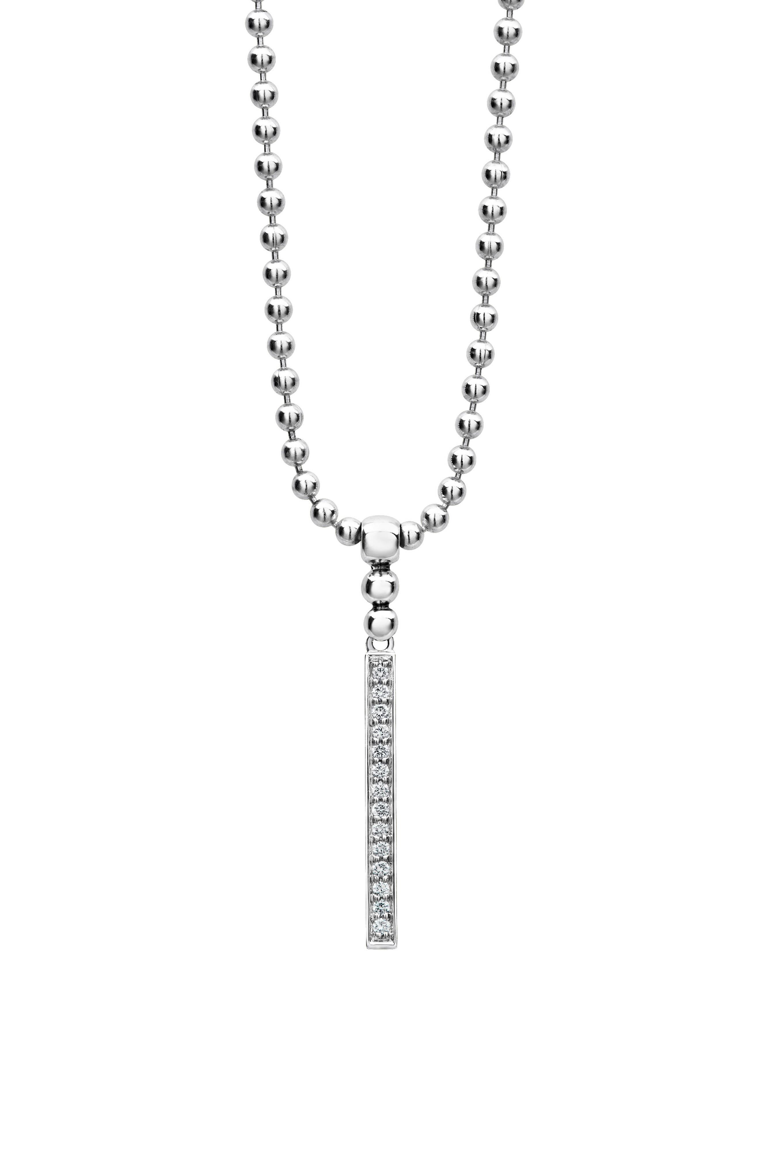 Caviar Spark Diamond Bar Pendant Necklace,                             Alternate thumbnail 4, color,                             Silver/ Diamond