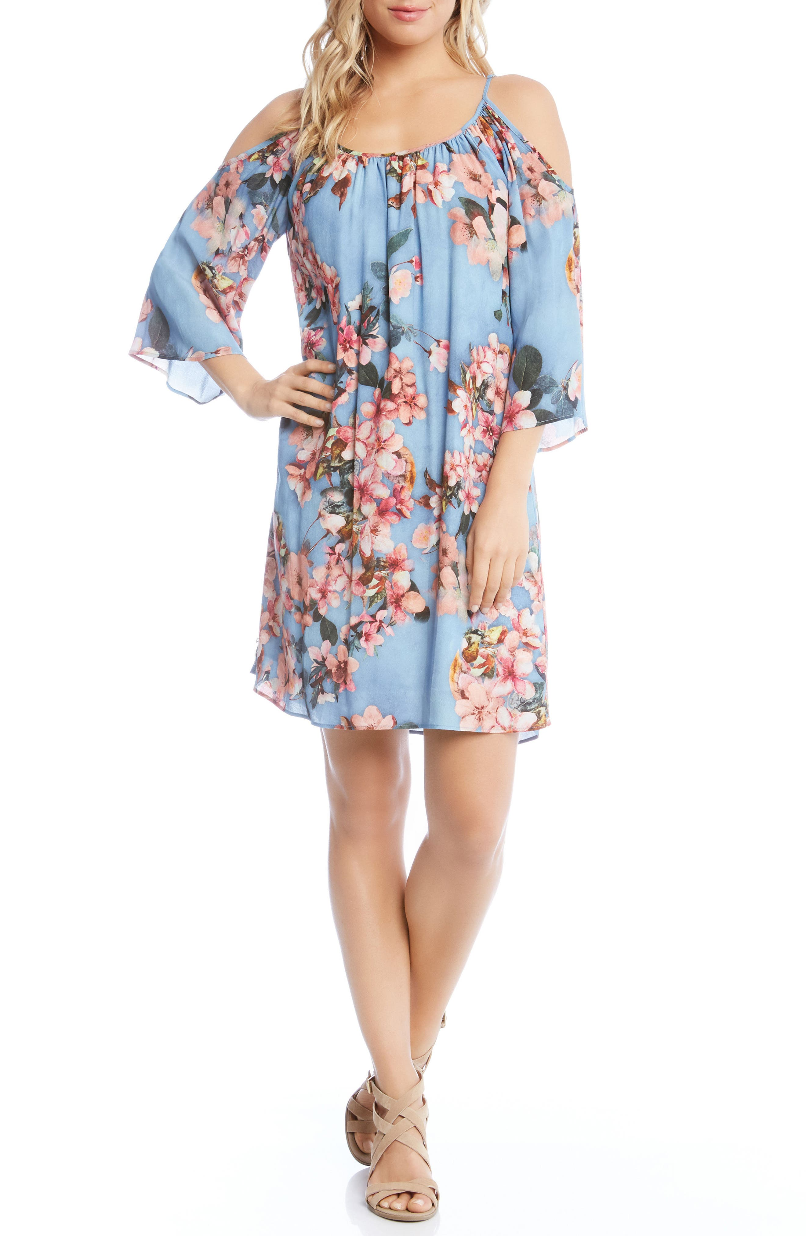Floral Fresco Dress,                             Main thumbnail 1, color,                             Print