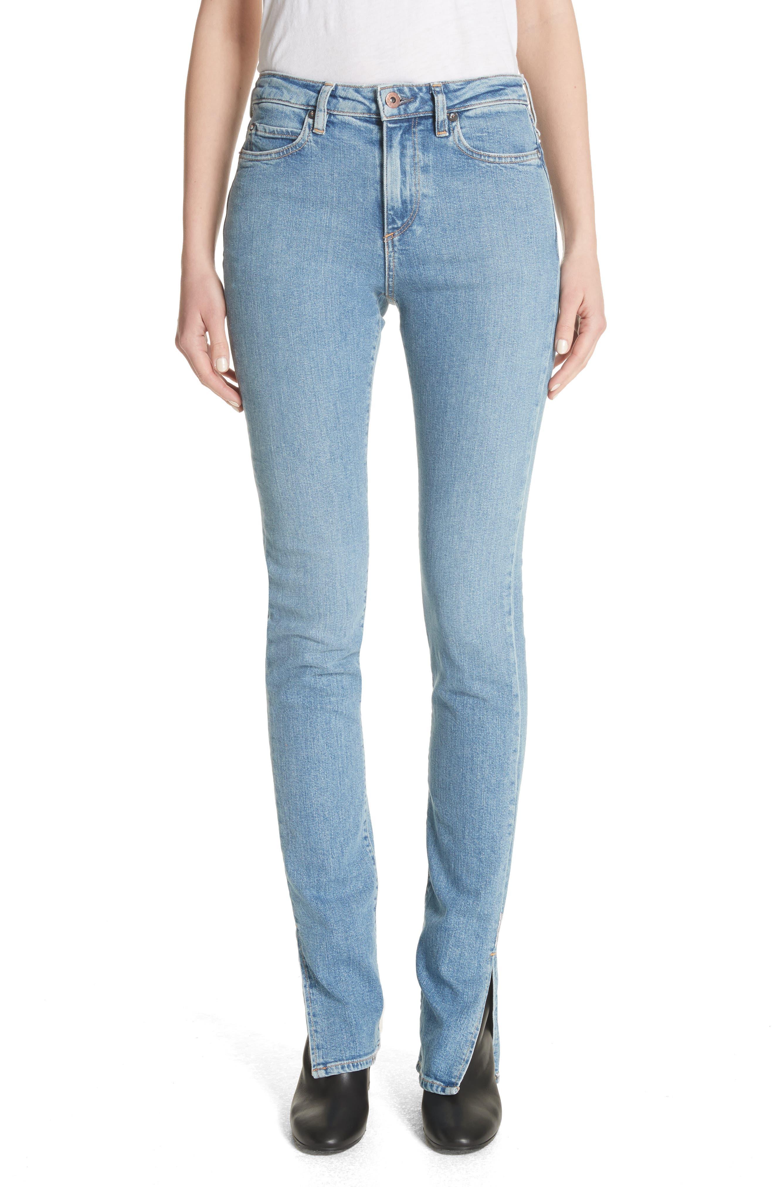Lowry Split Hem Jeans,                         Main,                         color, Mid Indigo Wash