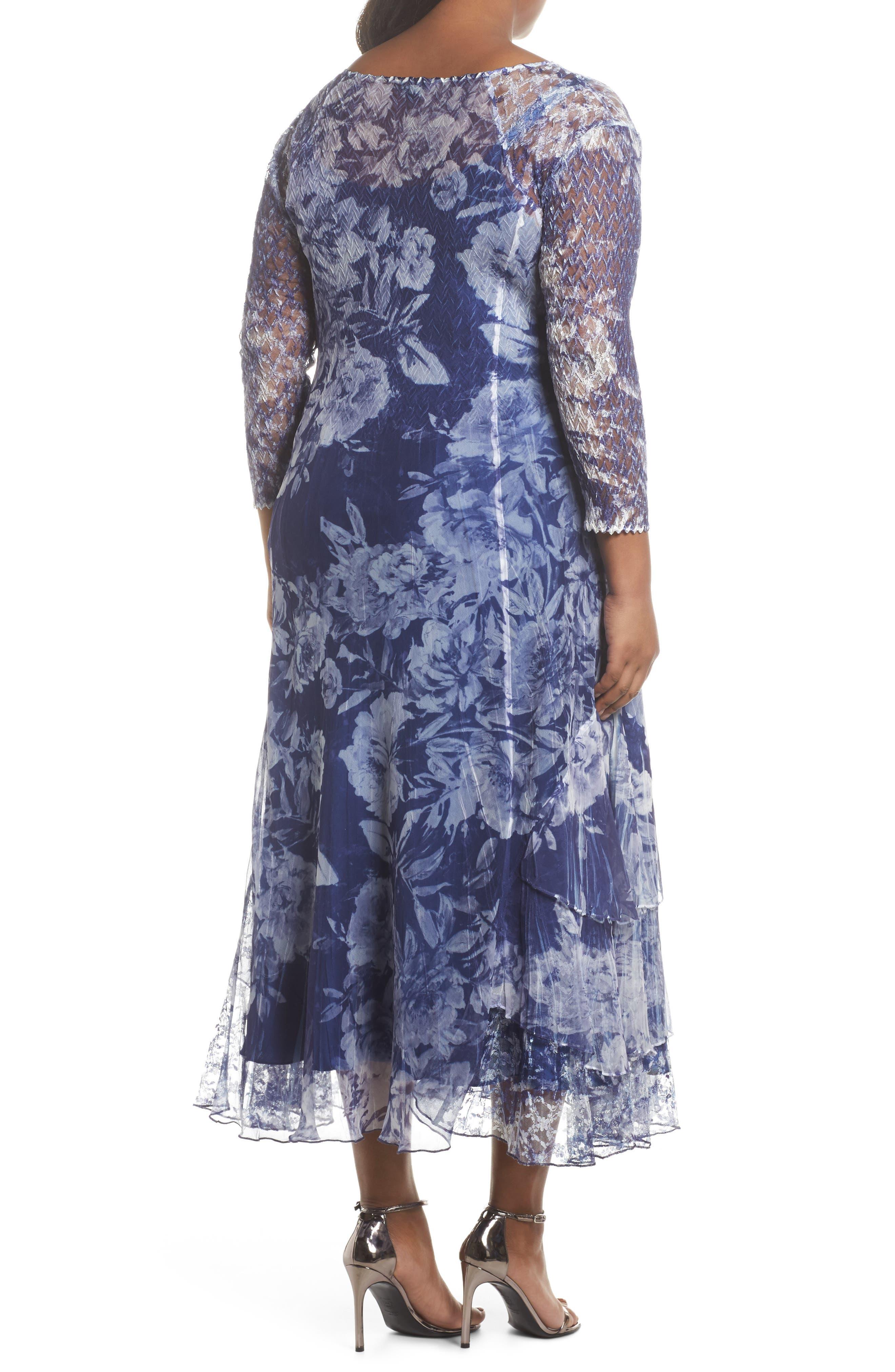 Print Chiffon Tiered Maxi Dress,                             Alternate thumbnail 2, color,                             Indigo Fields