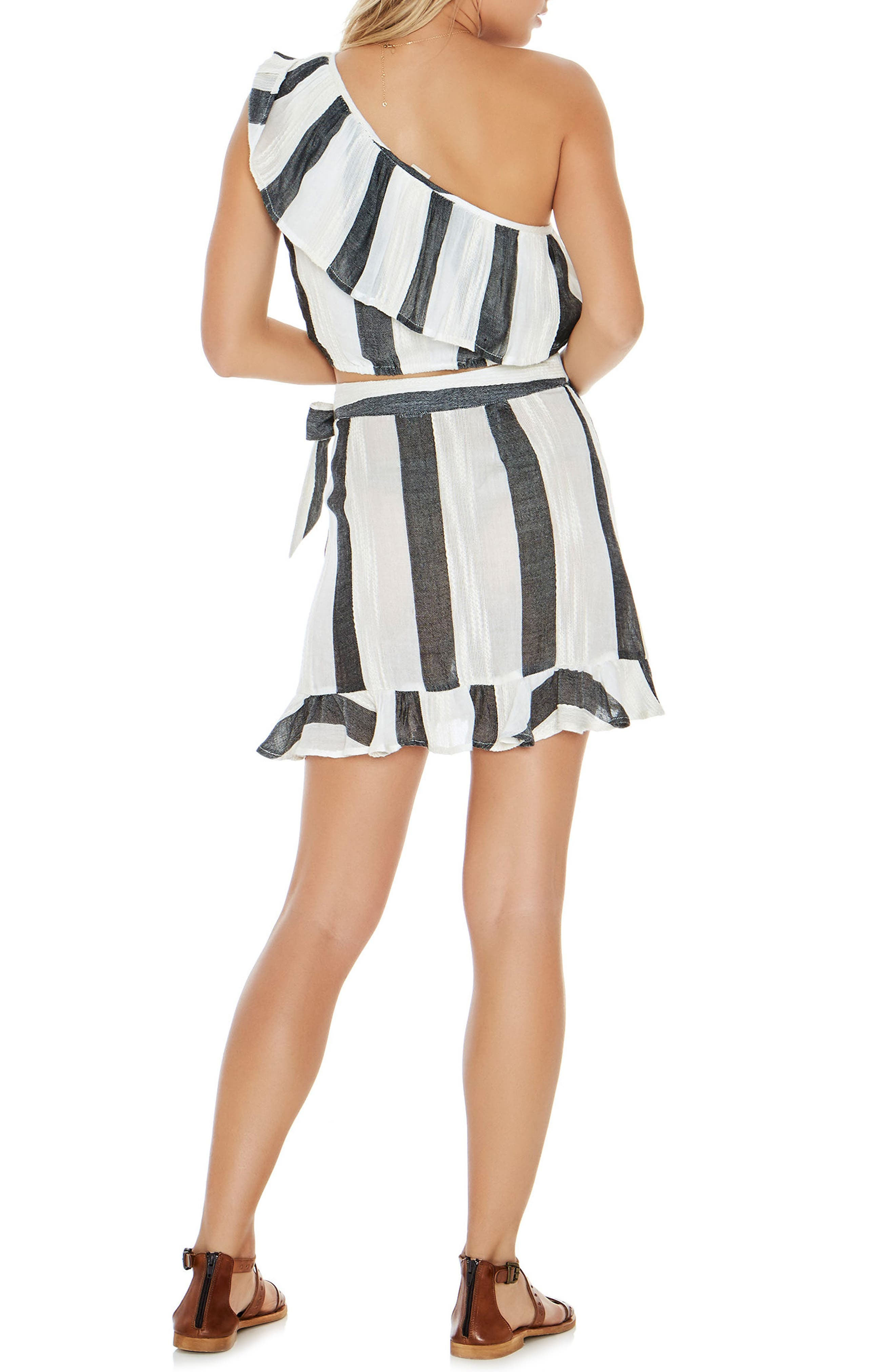Alicia One-Shoulder Cover-Up Top,                             Alternate thumbnail 5, color,                             Beach Bum Stripe