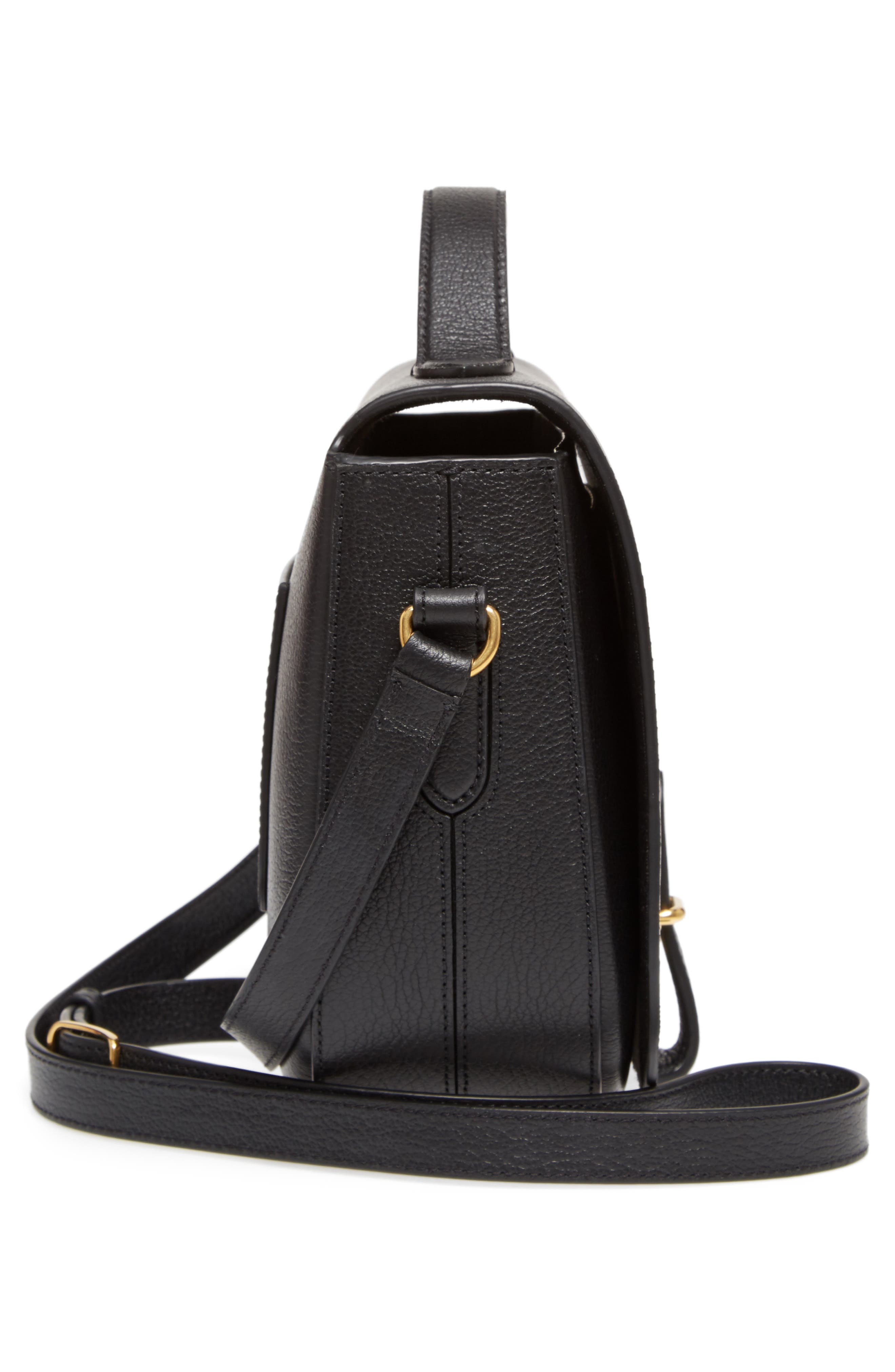 Tenby Calfskin Leather Crossbody Bag,                             Alternate thumbnail 5, color,                             Black