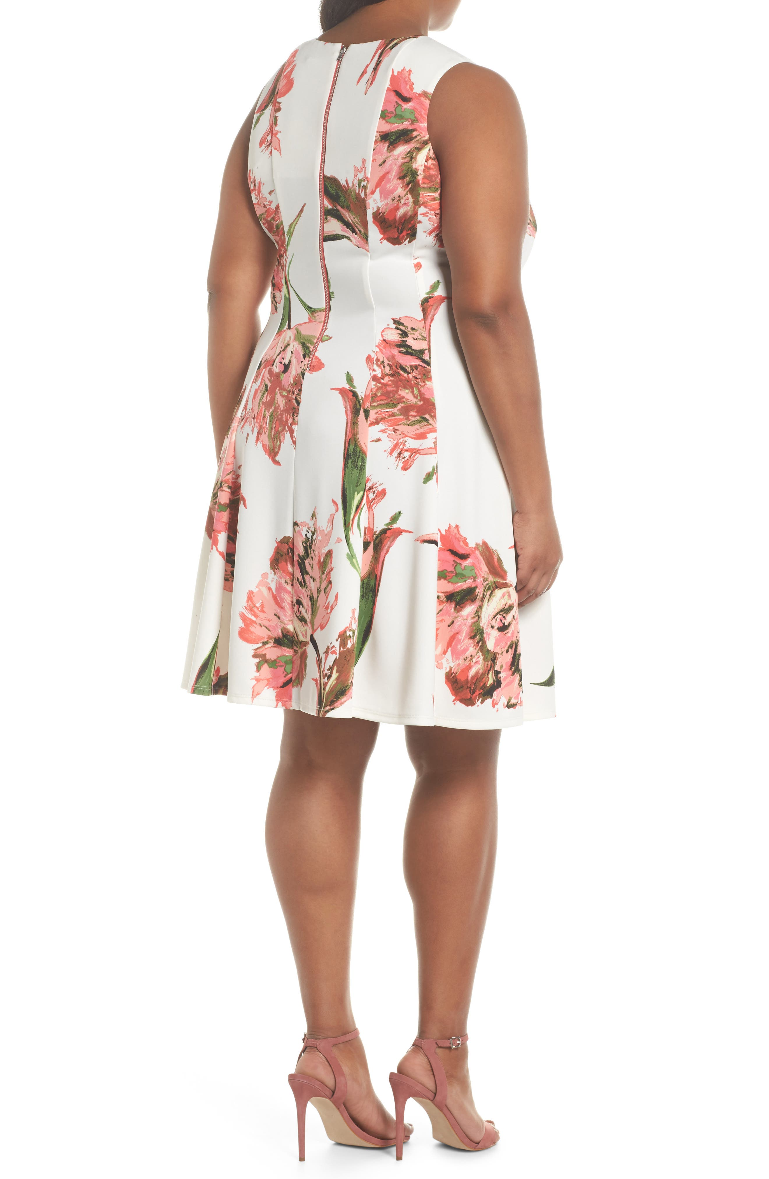 Floral Keyhole Fit & Flare Dress,                             Alternate thumbnail 2, color,                             Coral/ Ivory