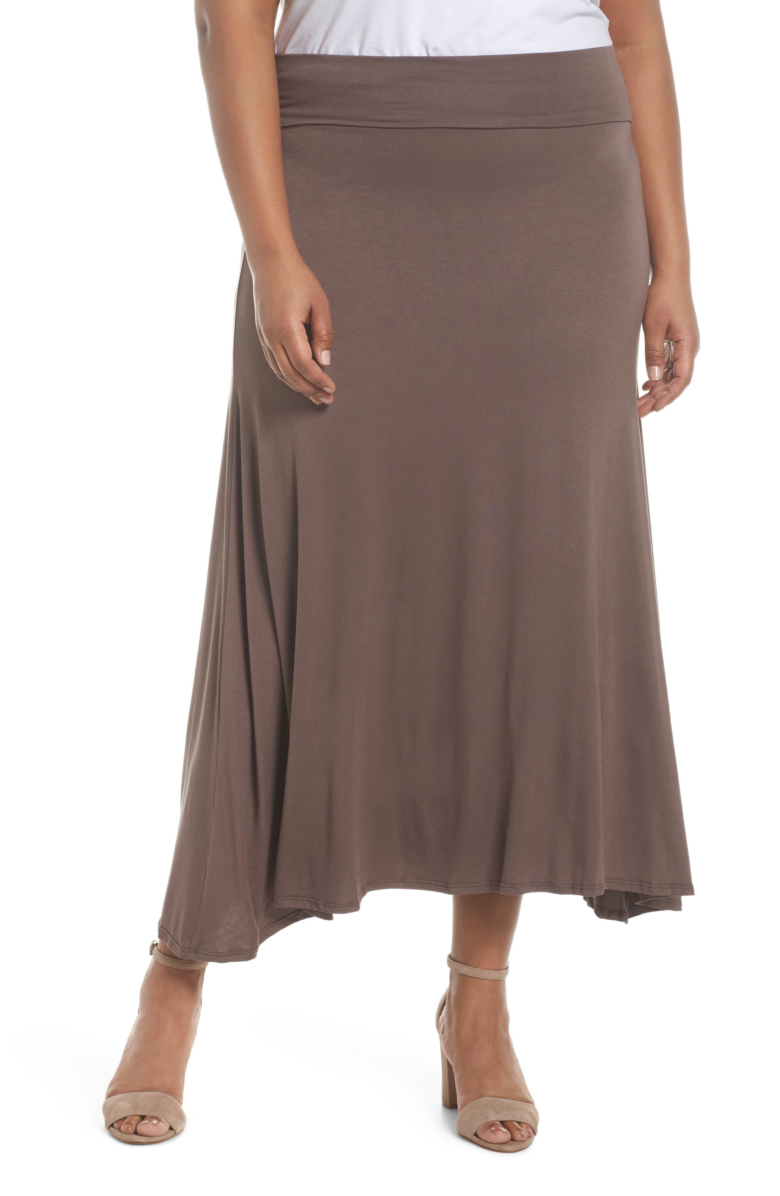 Foldover Knit Skirt,                             Main thumbnail 1, color,                             Mocha