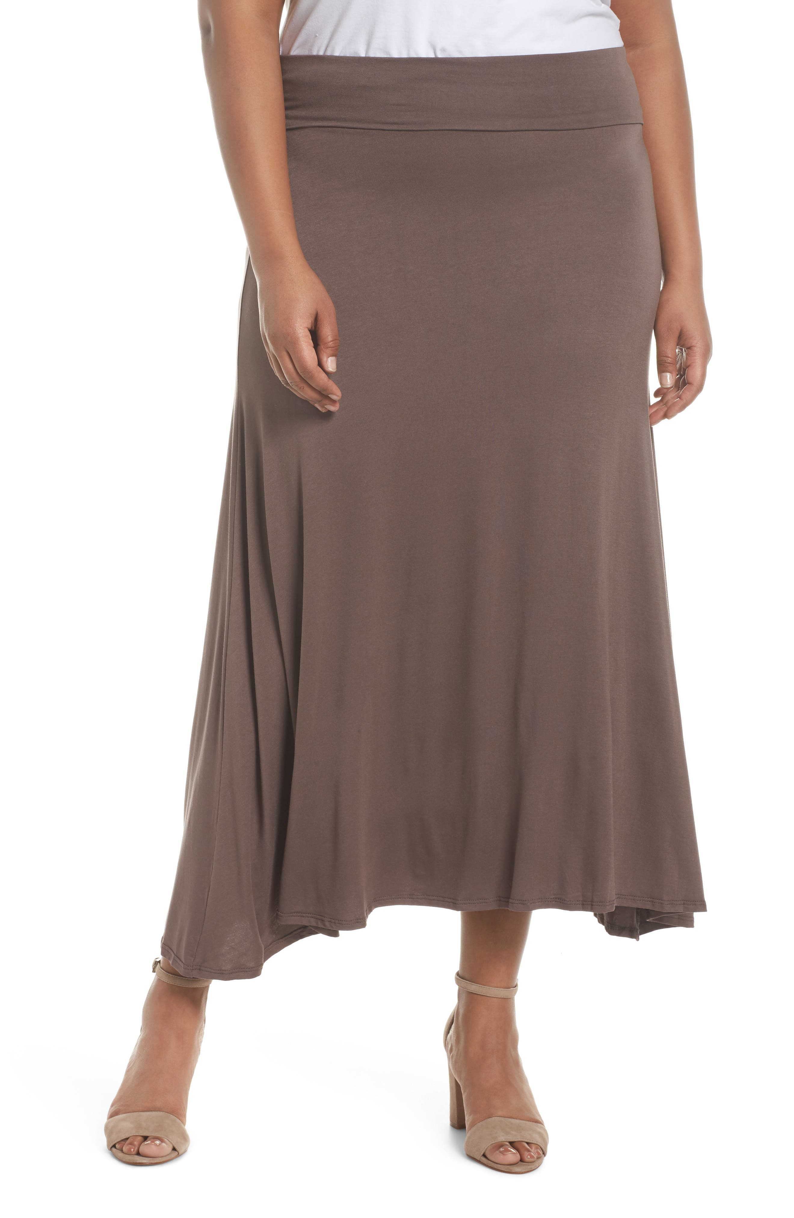 Foldover Knit Skirt,                         Main,                         color, Mocha