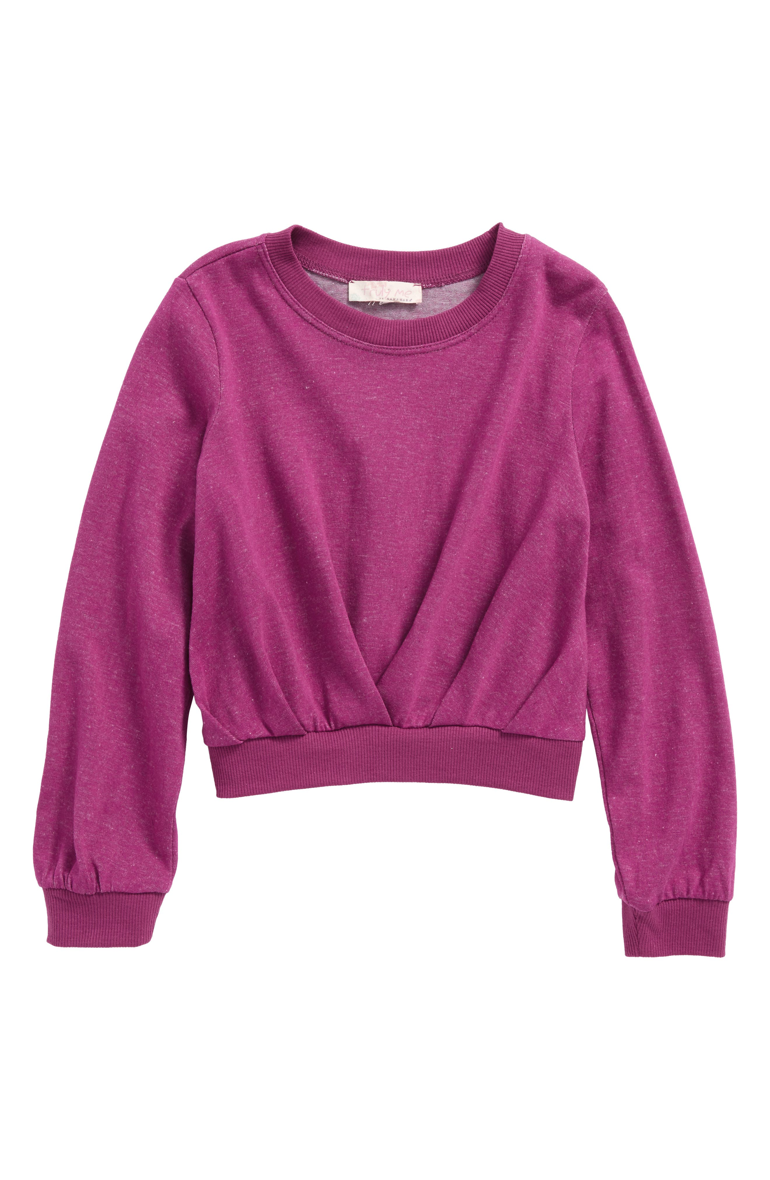 Pleated Sweatshirt,                         Main,                         color, Berry