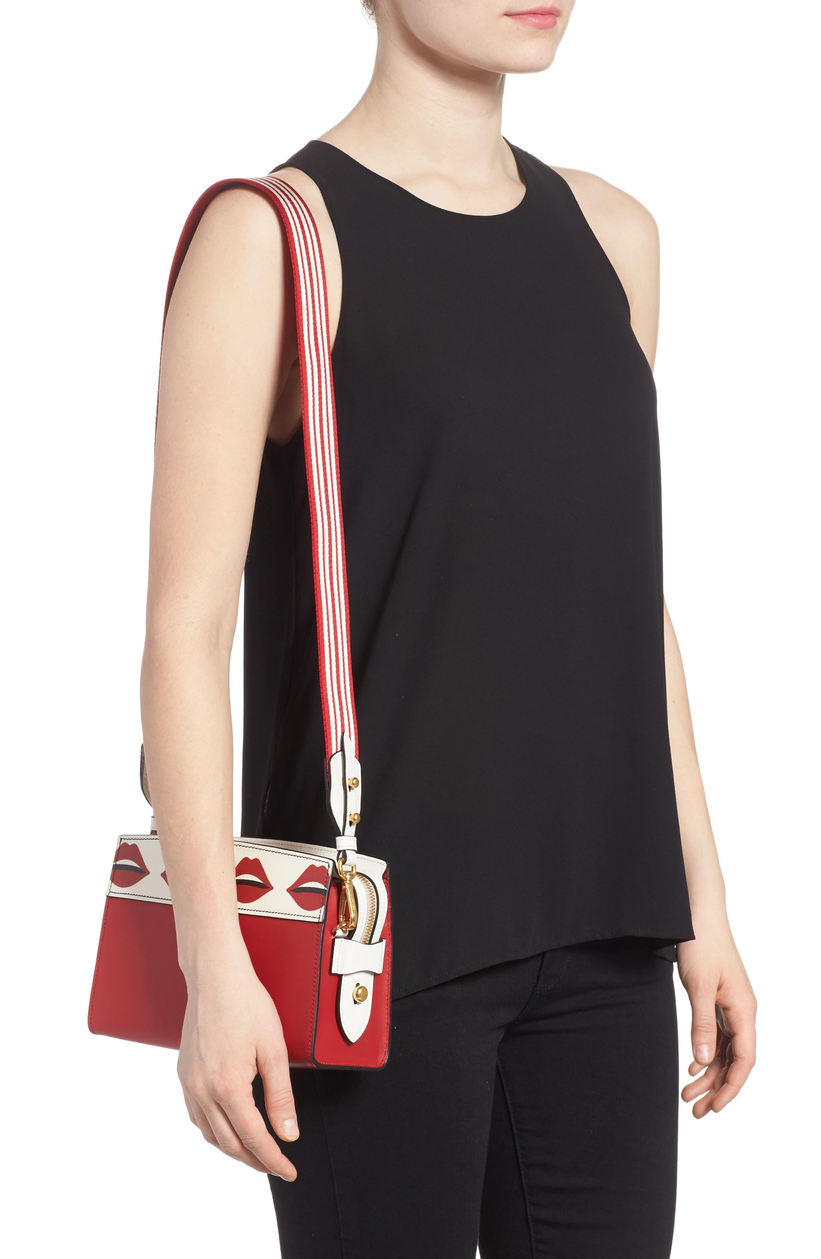 Esplanade Saffiano & City Calfskin Shoulder Bag,                             Alternate thumbnail 2, color,                             Fuoco