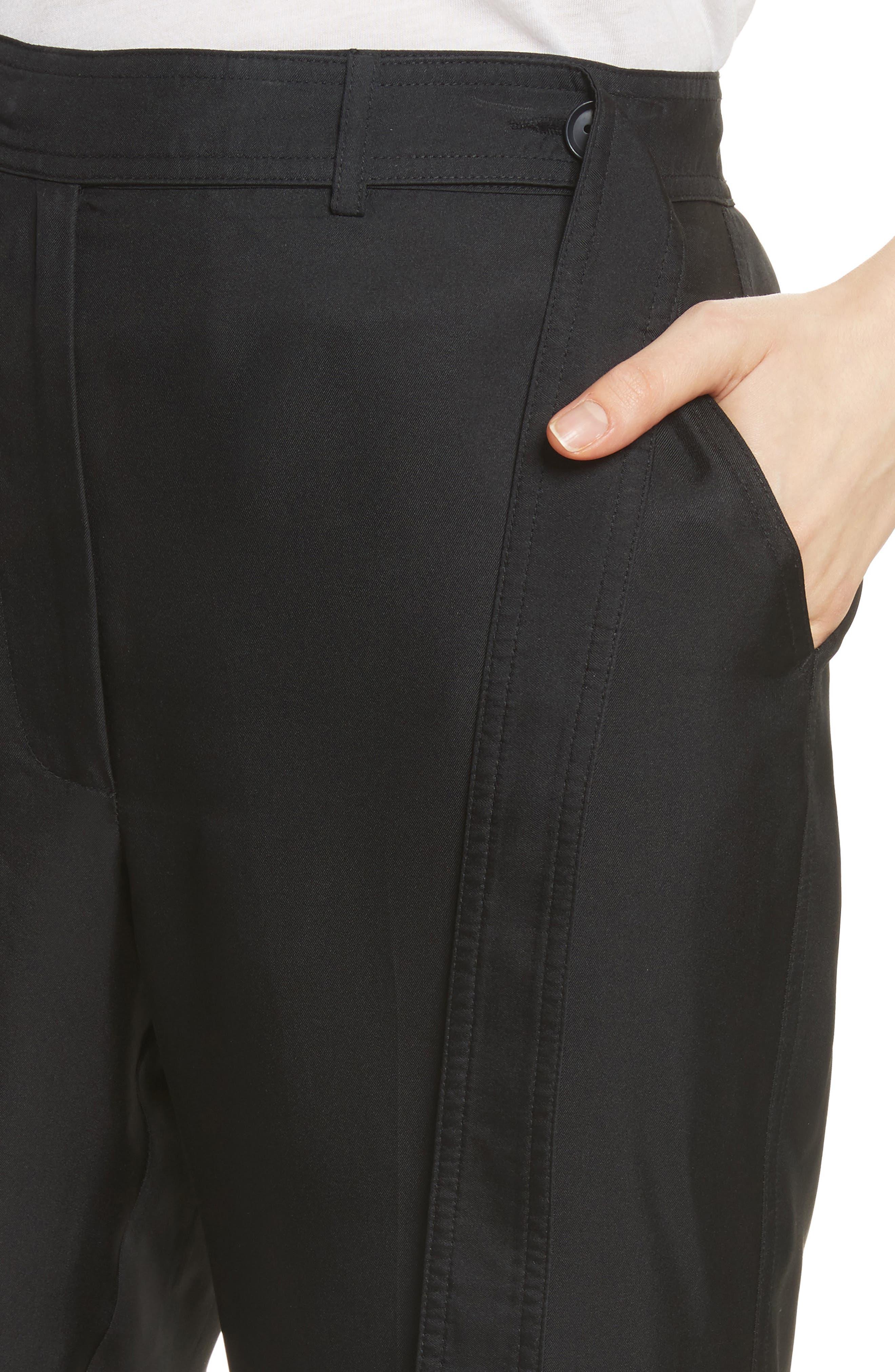 Tie Cuff Silk Pants,                             Alternate thumbnail 5, color,                             Black