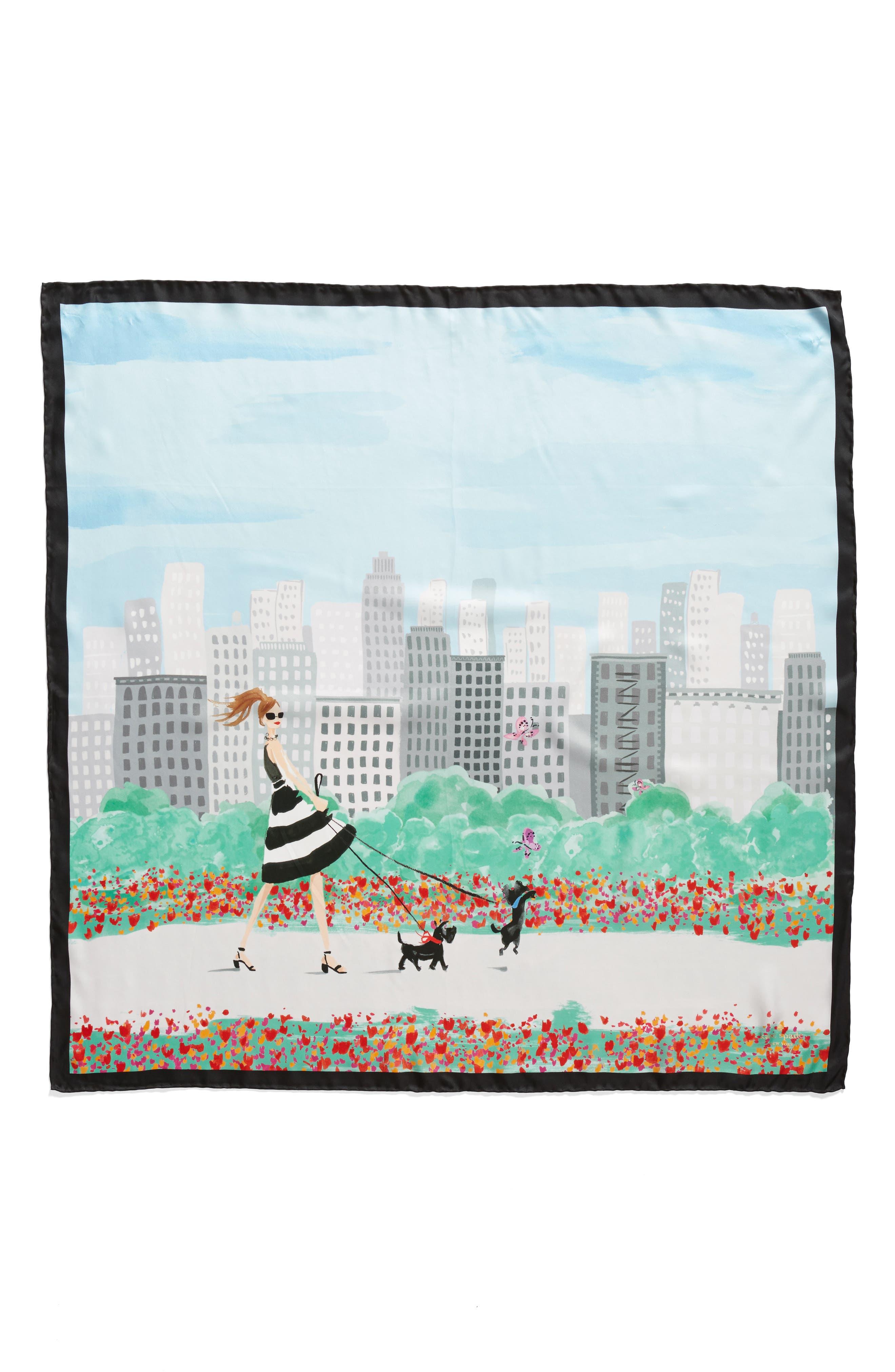 nyc scene square silk scarf,                             Alternate thumbnail 2, color,                             Black