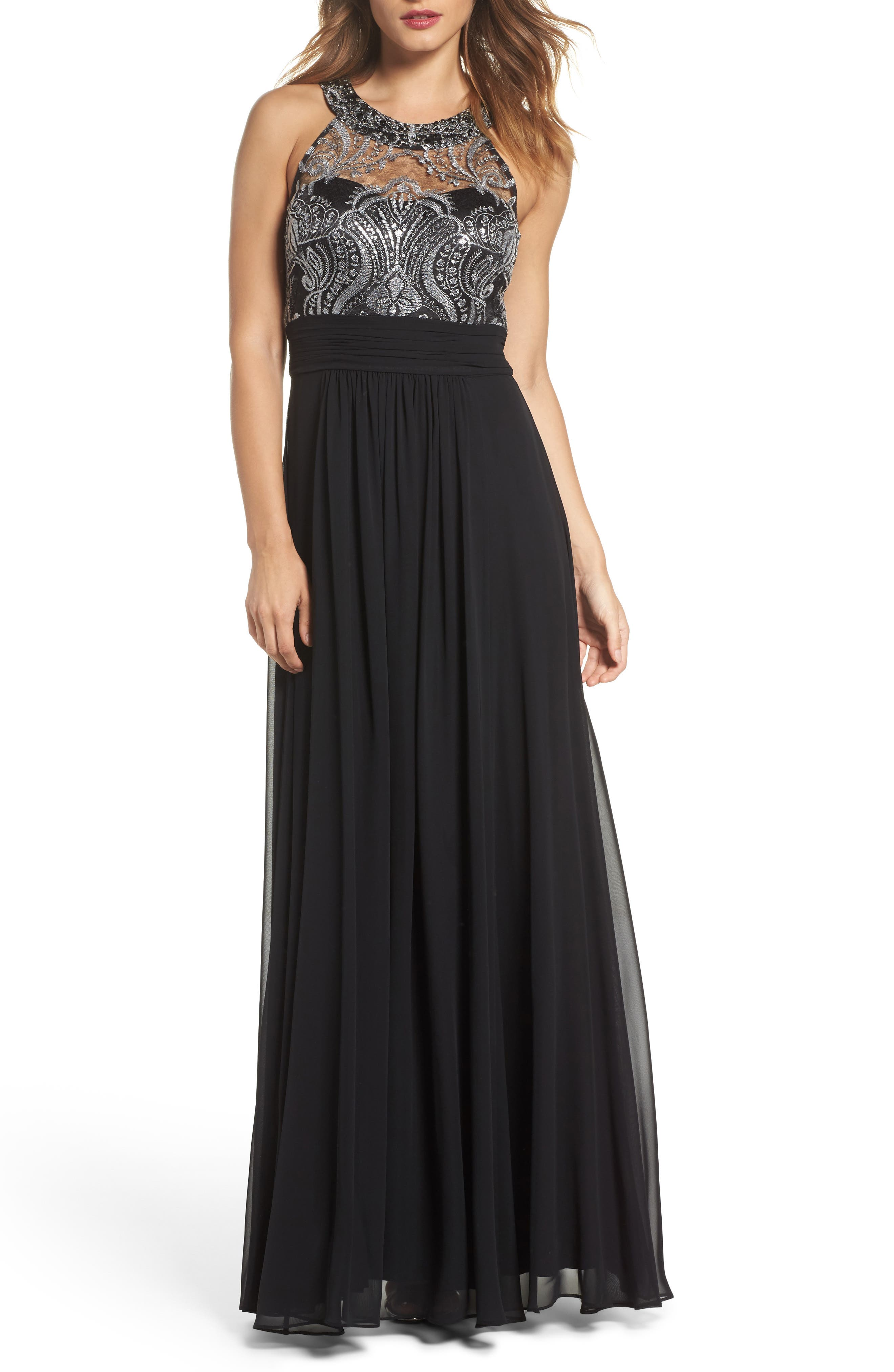Lace Bodice Gown,                             Main thumbnail 1, color,                             Silver Com