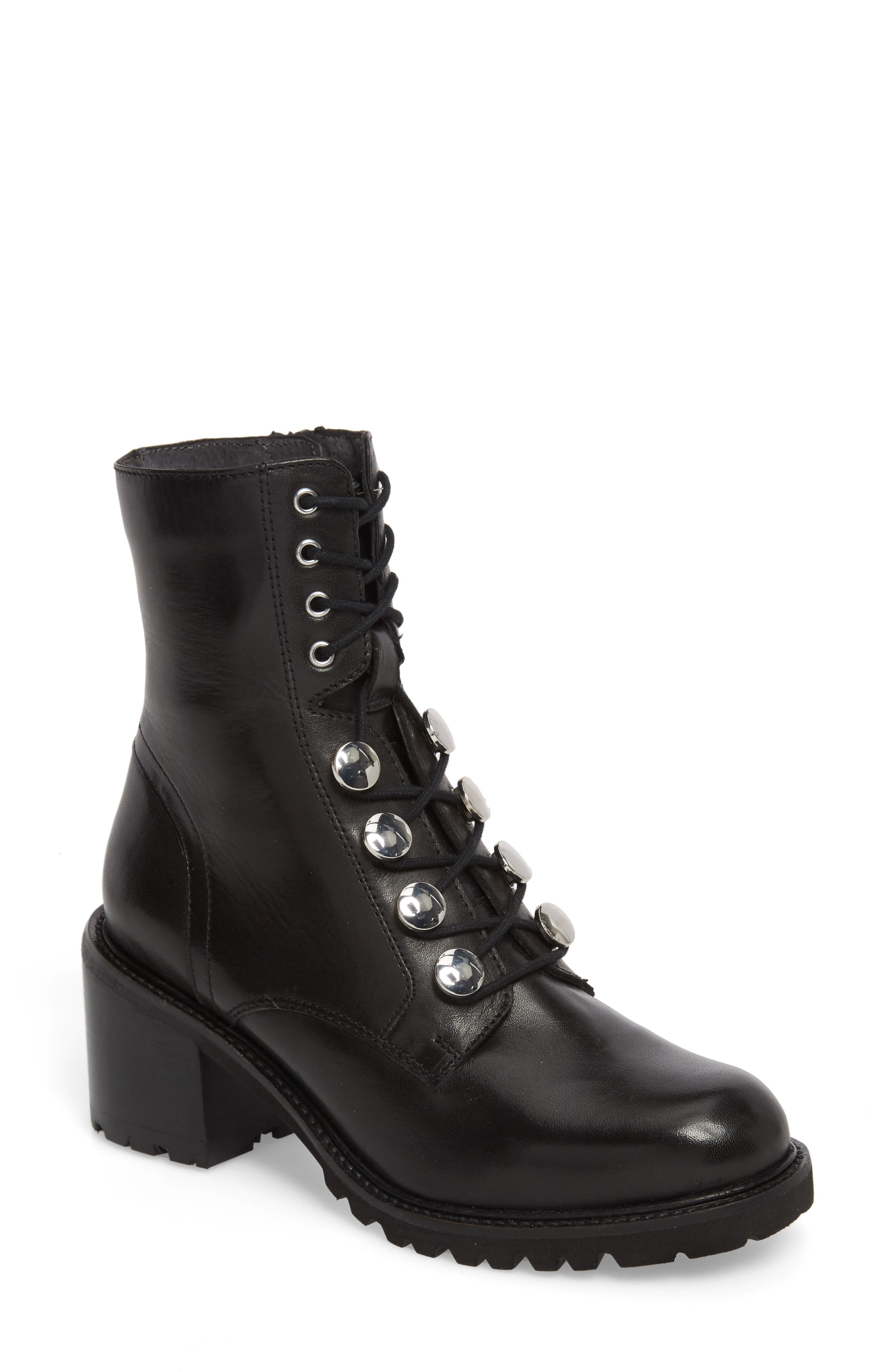 Make it Count Lace-Up Boot,                             Main thumbnail 1, color,                             Black Leather