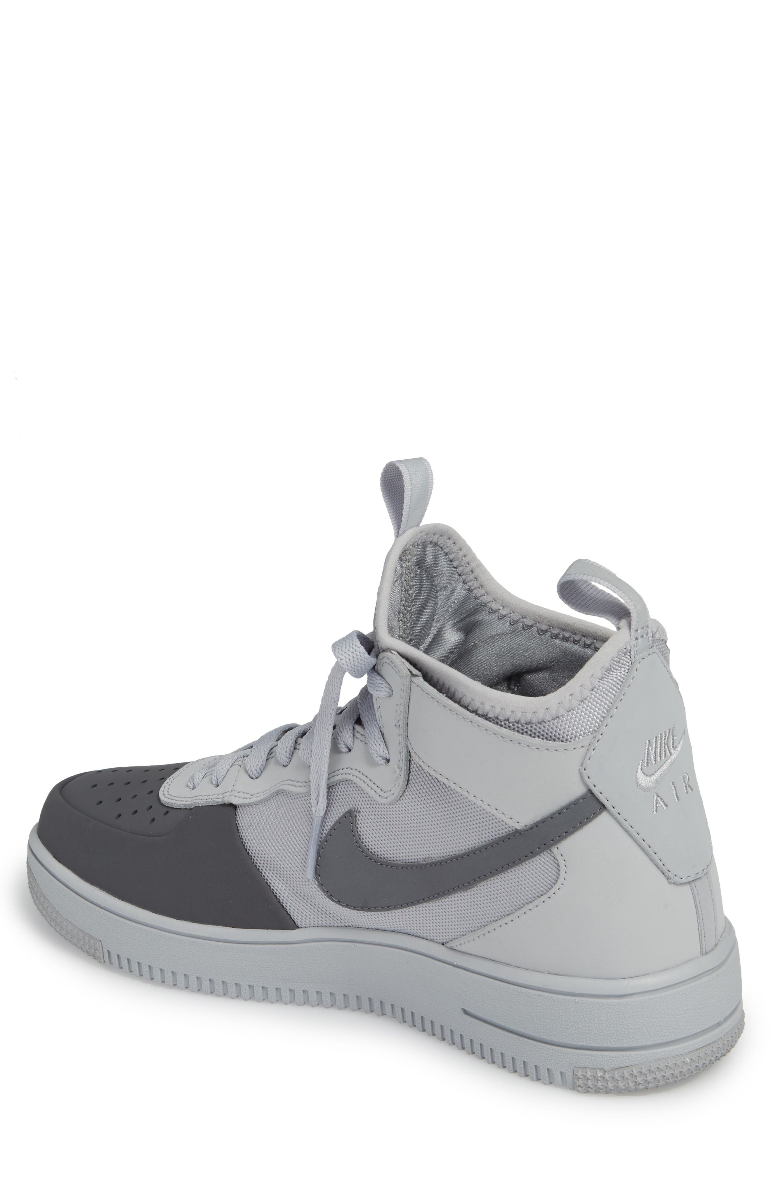 Air Force 1 Ultraforce Mid Tech Sneaker,                             Alternate thumbnail 2, color,                             Wolf Grey/ Dark Grey