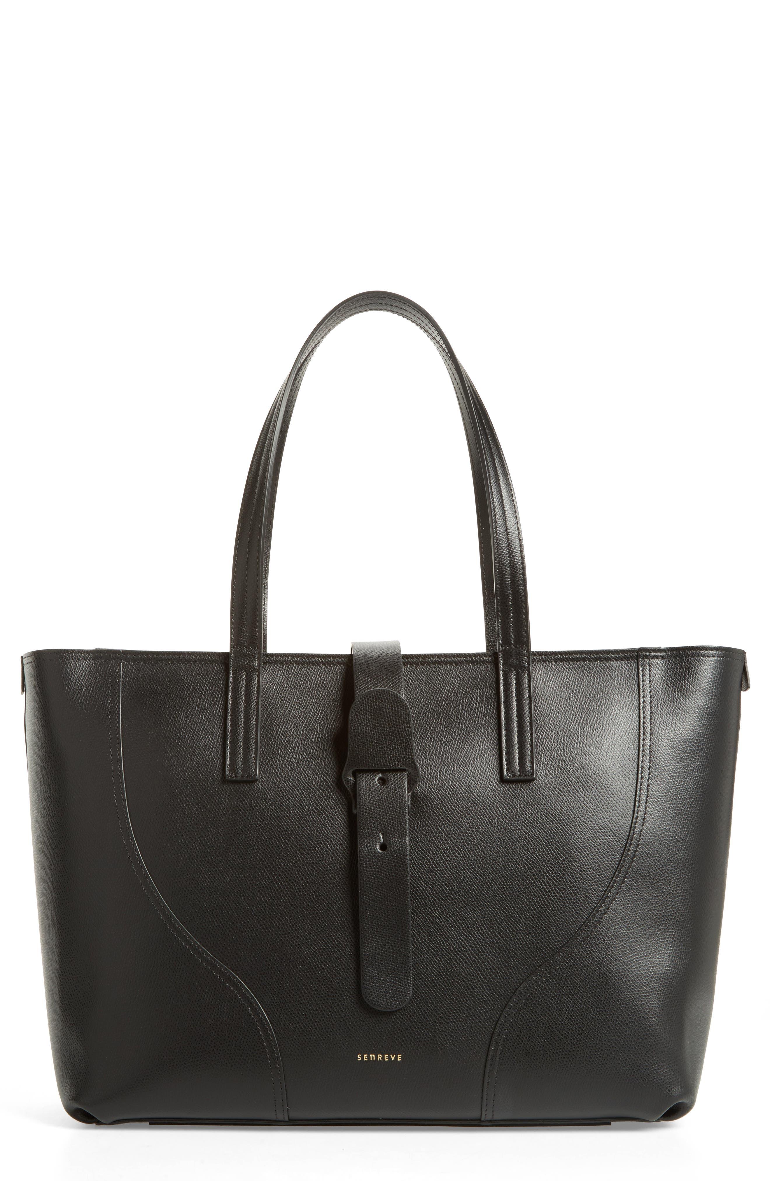 Voya Pebbled Leather Tote,                         Main,                         color, Noir