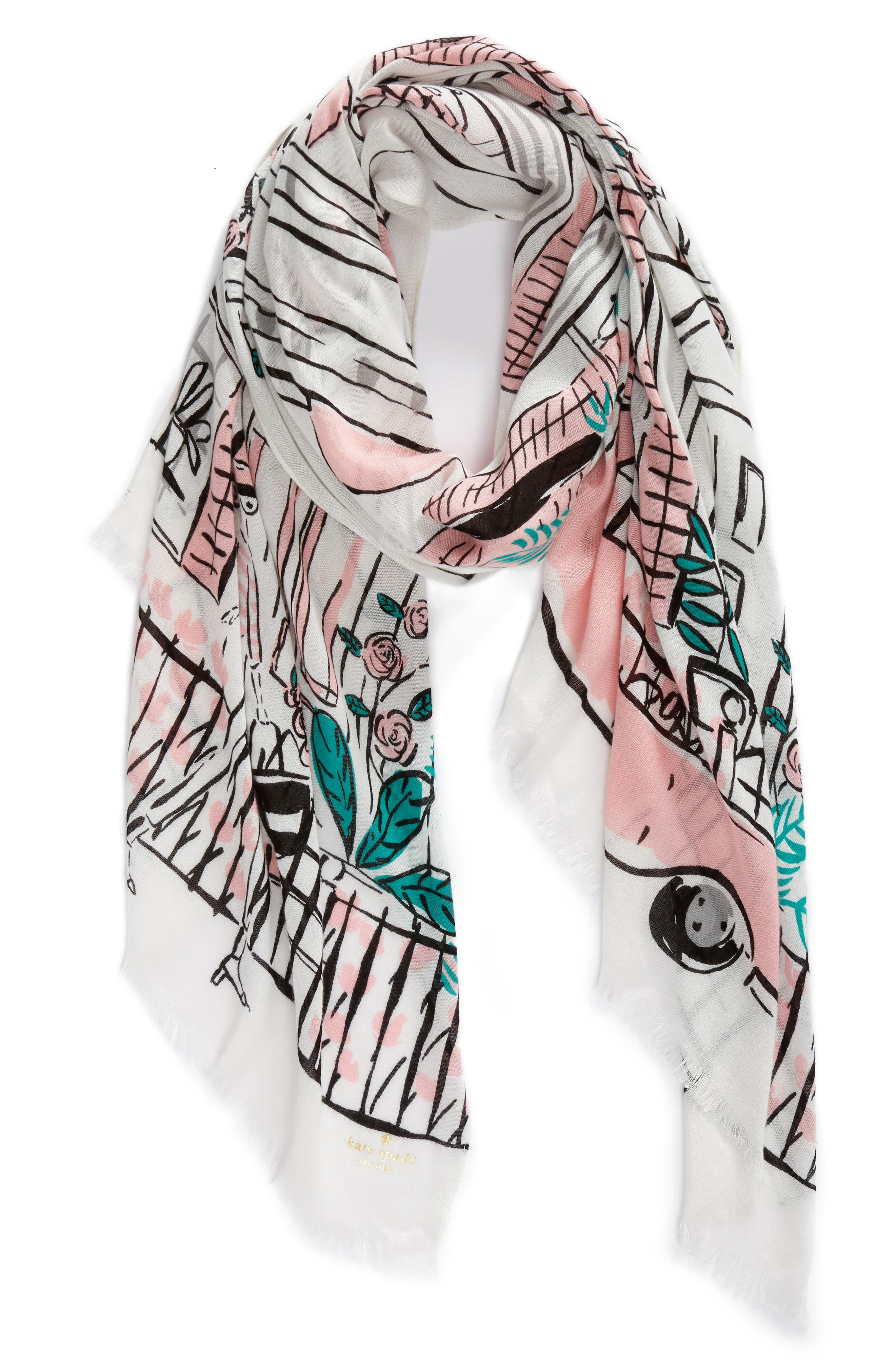 new orleans house scarf,                             Alternate thumbnail 3, color,                             Cream