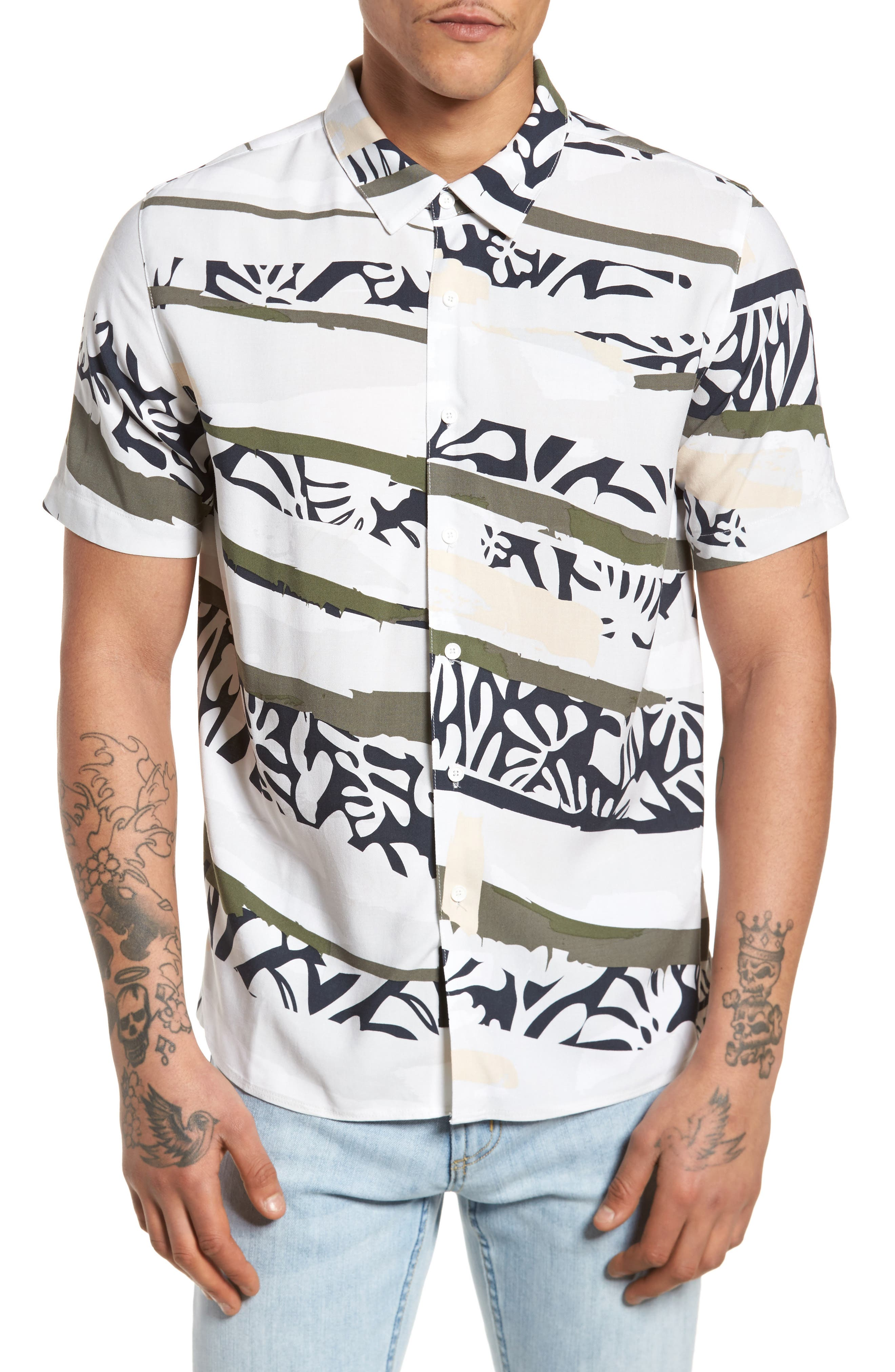 Tropi Camo Woven Shirt,                         Main,                         color, White