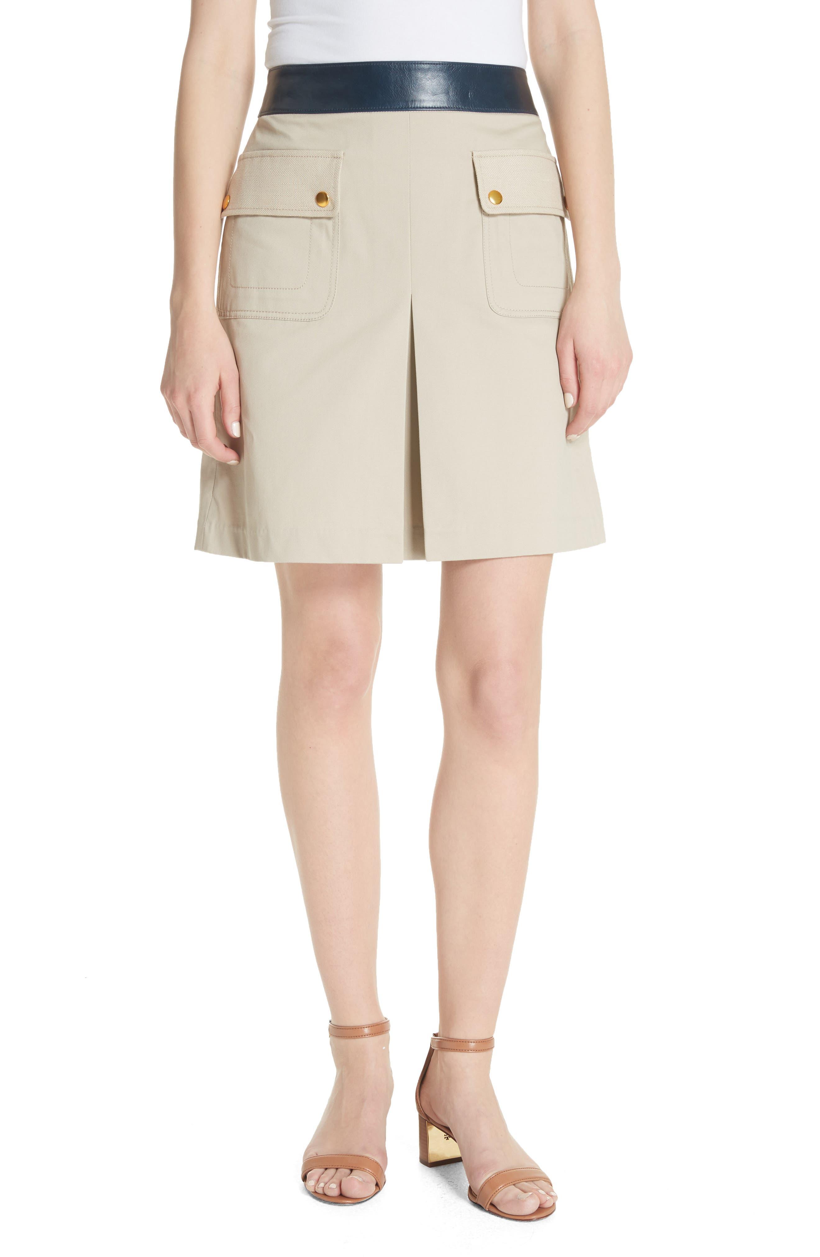 Parker Leather Trim Skirt,                             Main thumbnail 1, color,                             Safari