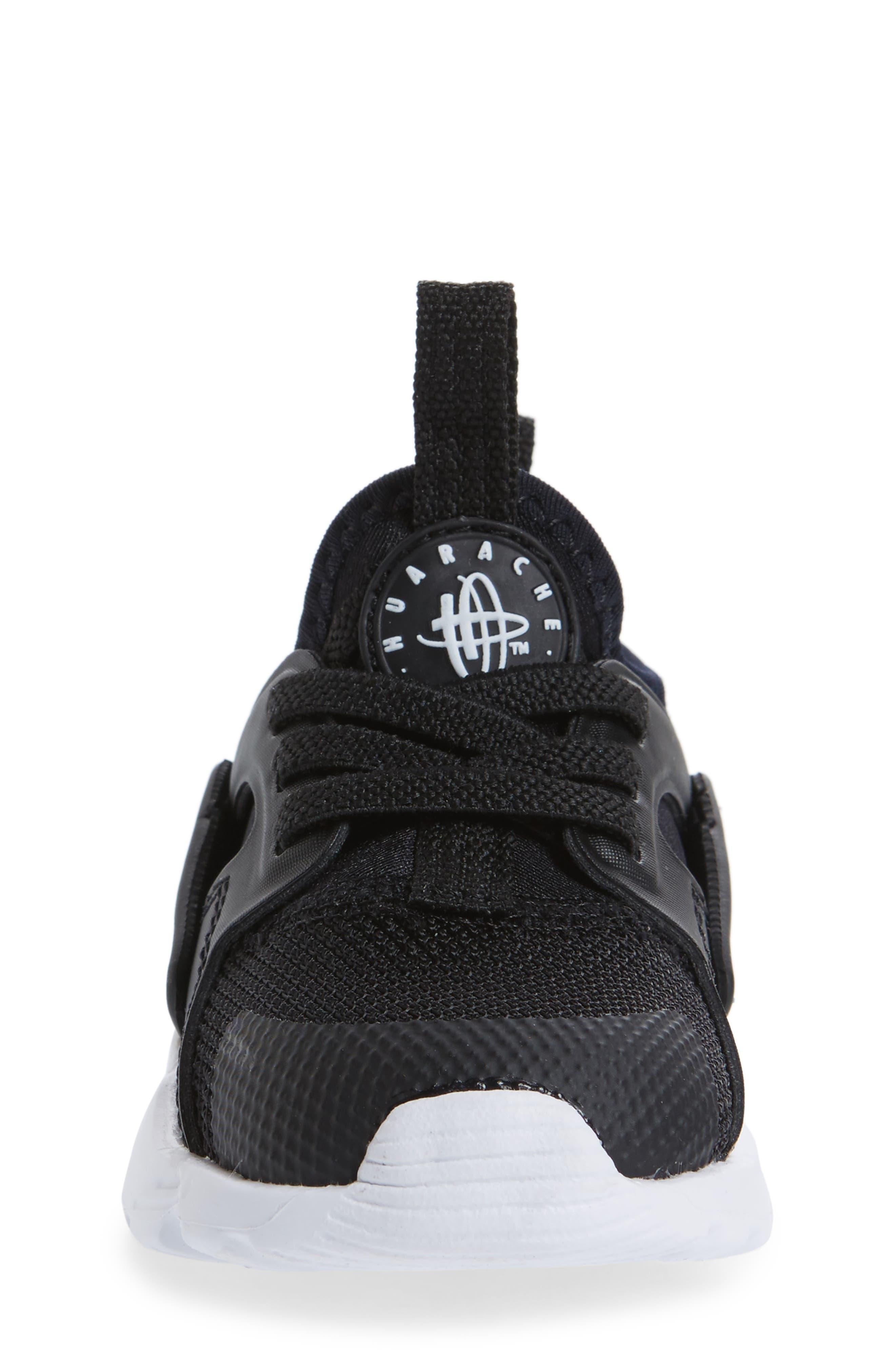 Air Huarache Run Ultra Sneaker,                             Alternate thumbnail 4, color,                             Black/ Black/ White