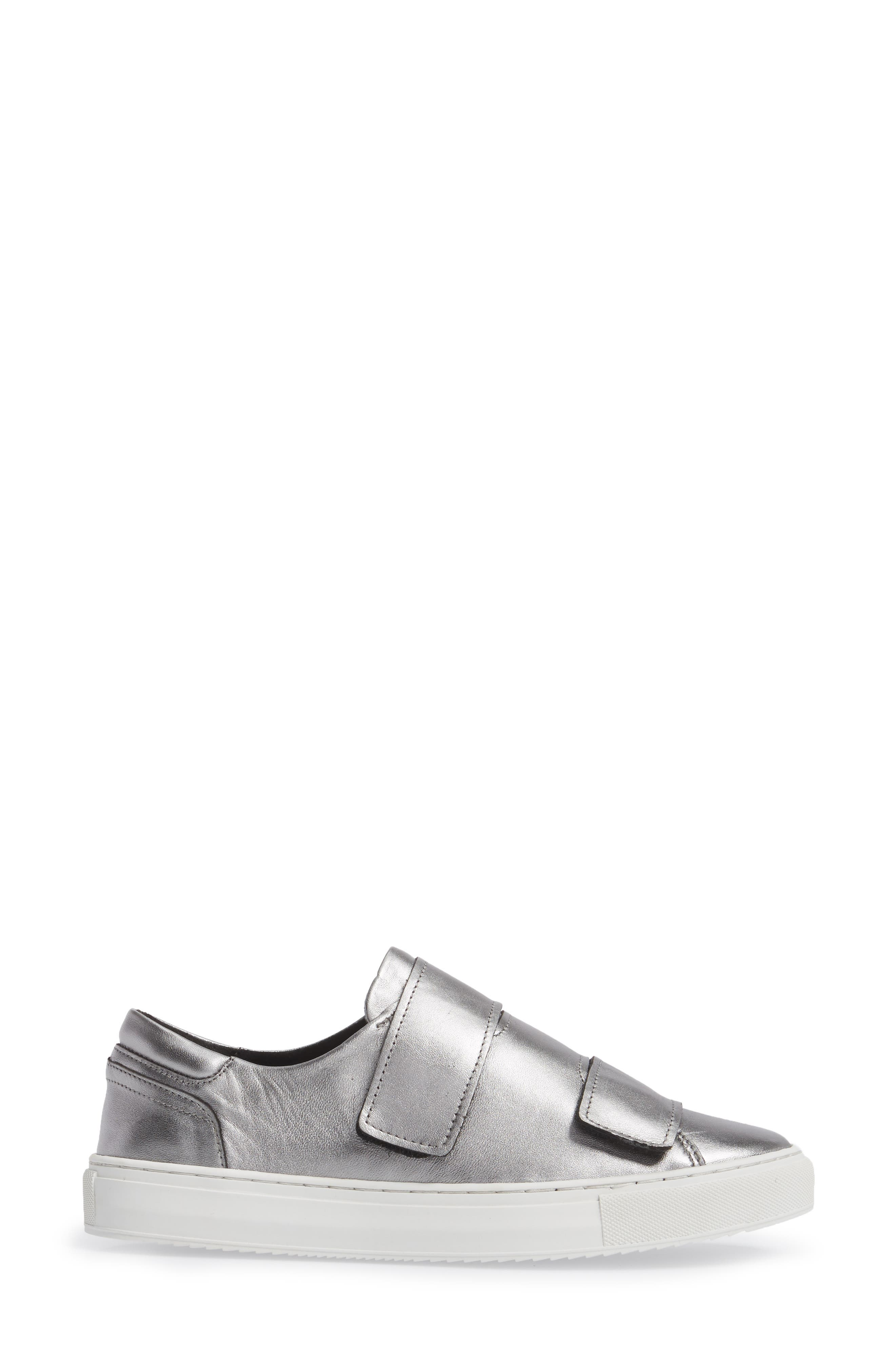 Rollover Alternating Strap Sneaker,                             Alternate thumbnail 3, color,                             Pewter Leather