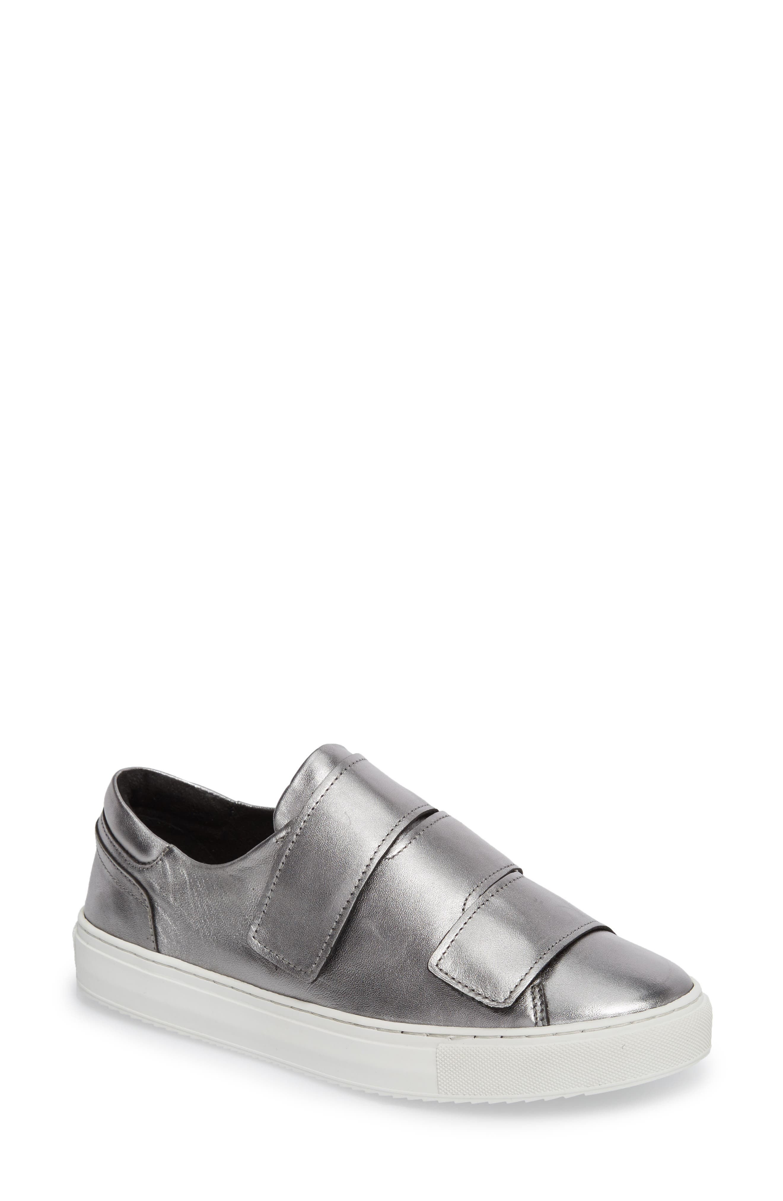 Rollover Alternating Strap Sneaker,                         Main,                         color, Pewter Leather