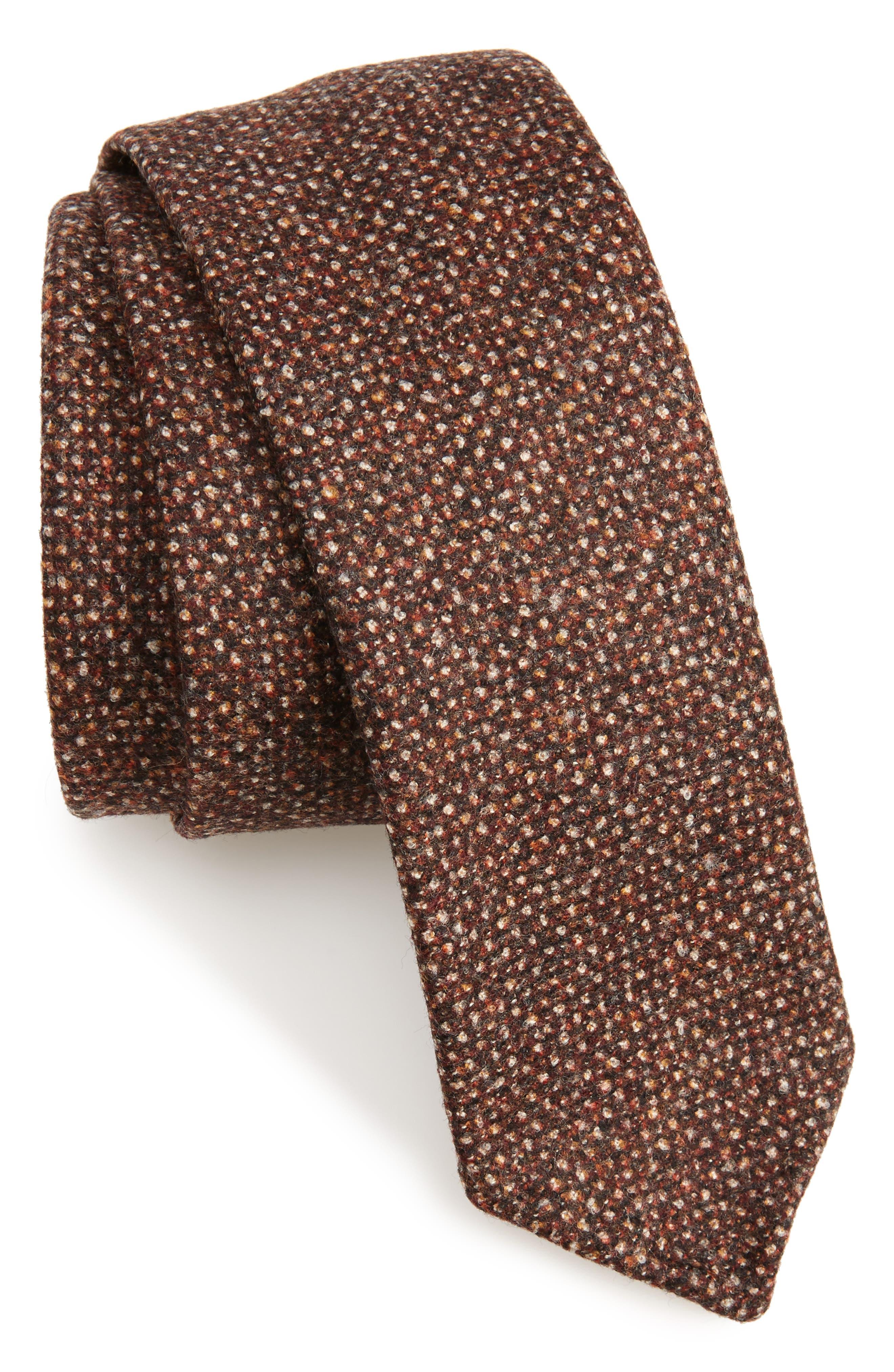 Mélange Wool Skinny Tie,                             Main thumbnail 1, color,                             Rust/ Copper