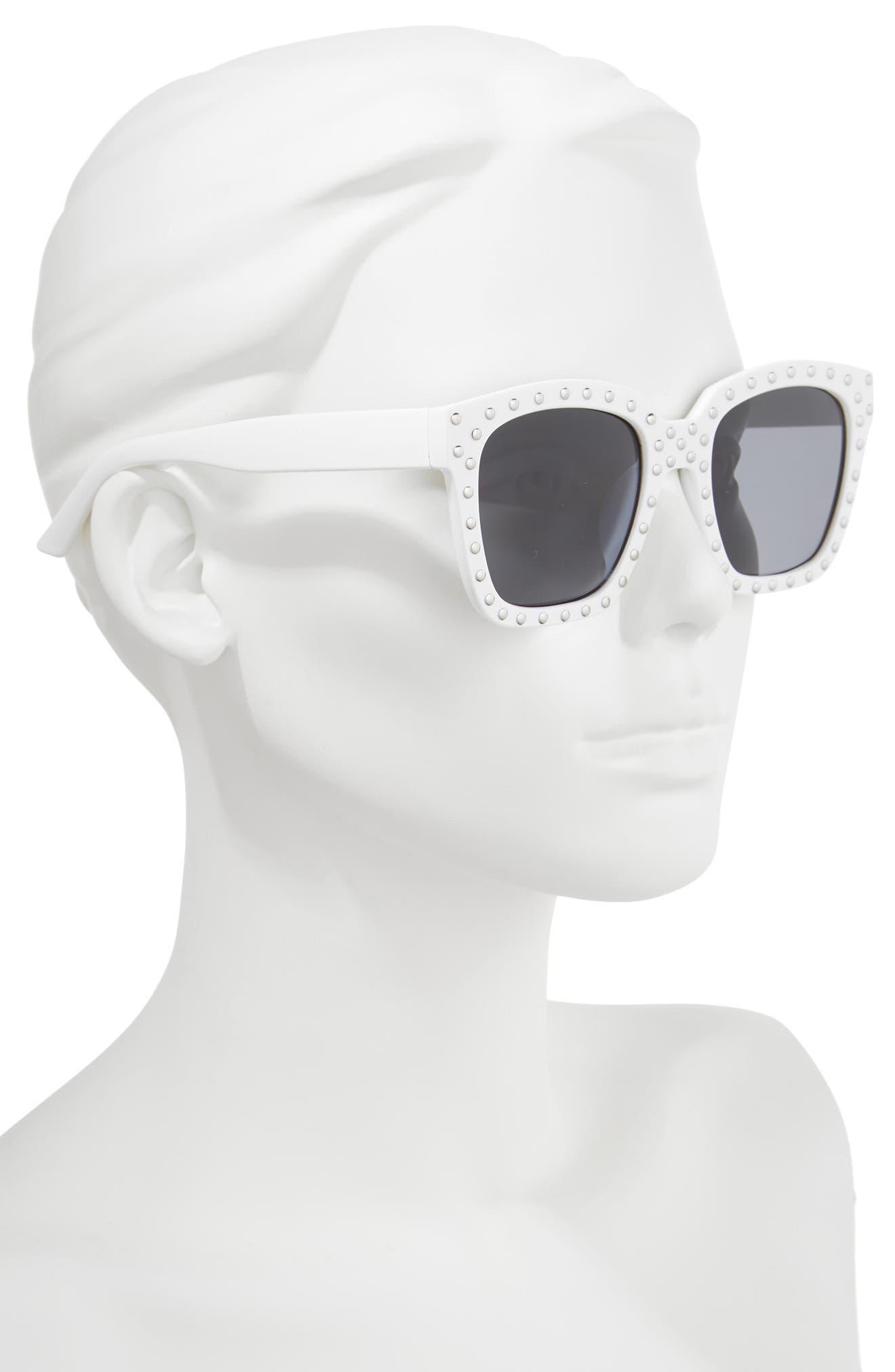 Studded Square Sunglasses,                             Alternate thumbnail 2, color,                             White/ Silver