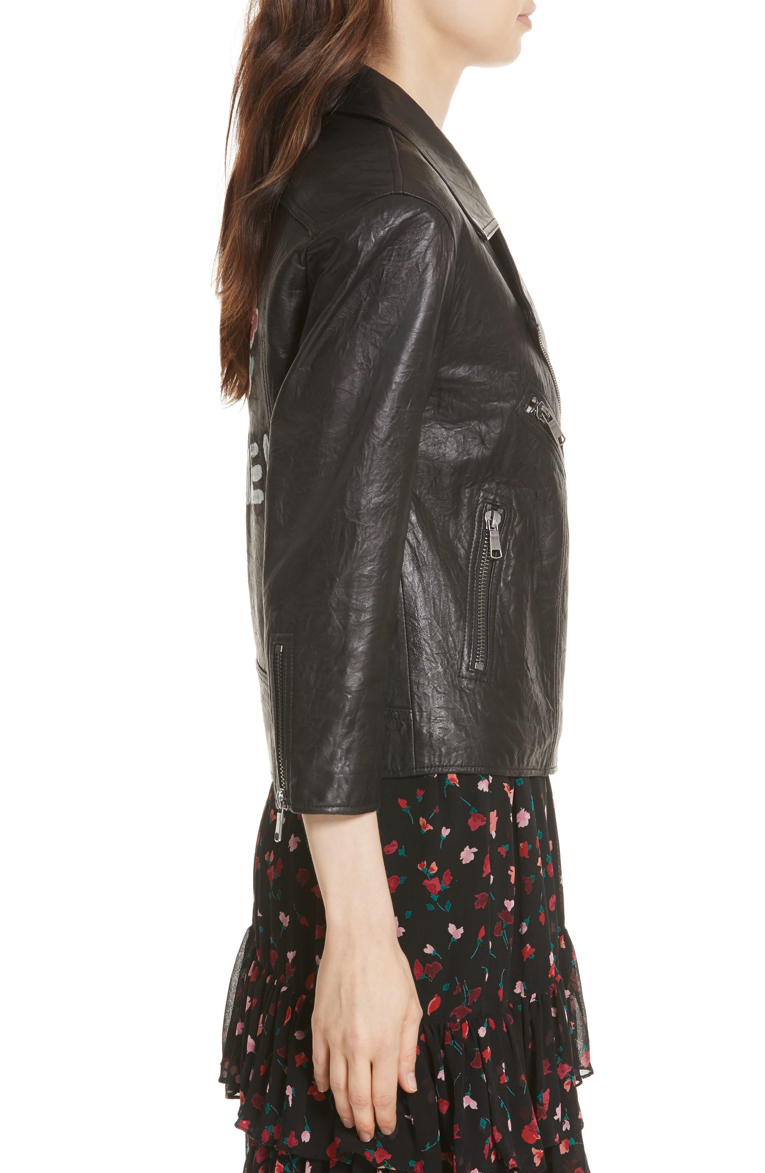 Kameke Viva La Femme Lambskin Leather Jacket,                             Alternate thumbnail 3, color,                             Caviar