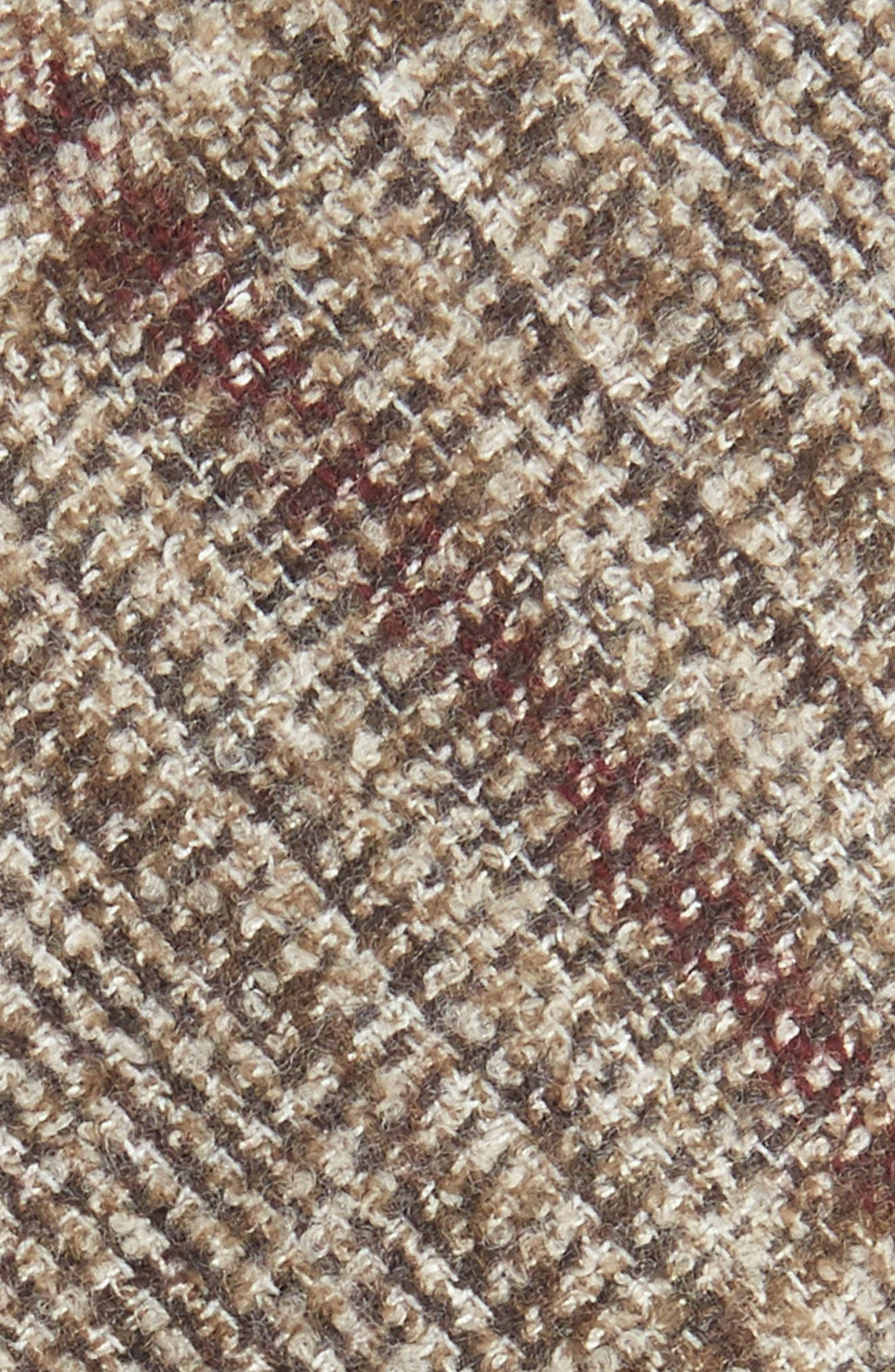 Glencheck Wool Blend Skinny Tie,                             Alternate thumbnail 2, color,                             Dark Beige