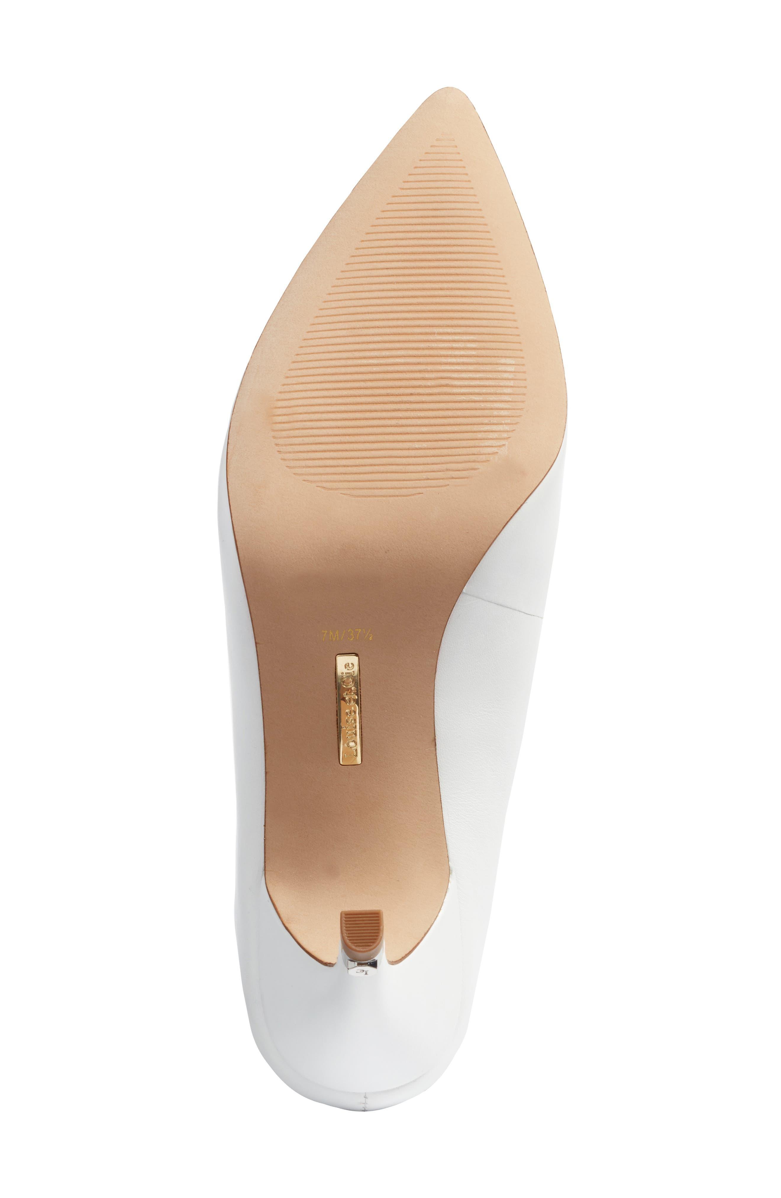 Karas Pointy Toe Slide Pump,                             Alternate thumbnail 6, color,                             White Leather