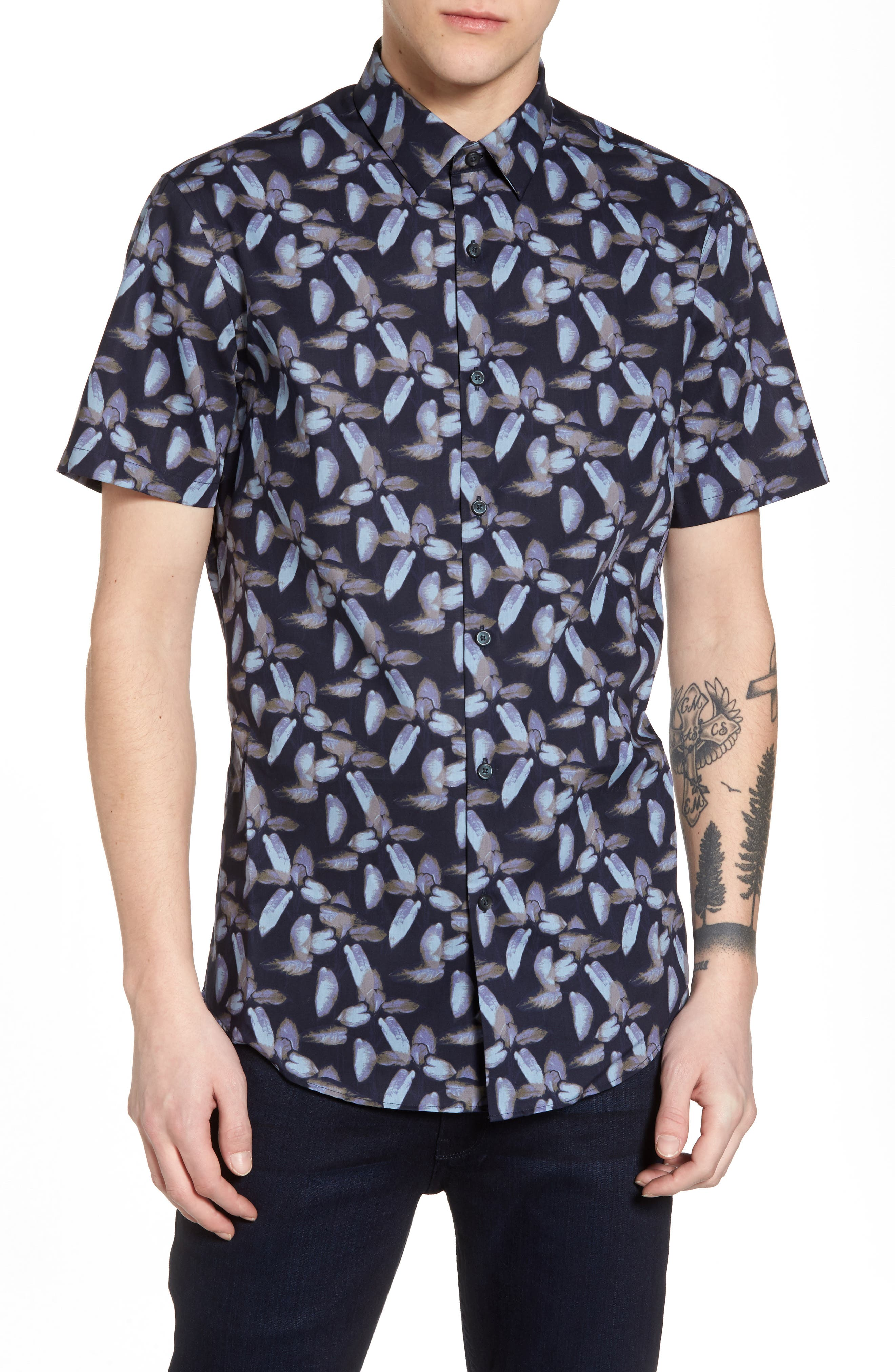 Floral Print Sport Shirt,                         Main,                         color, Navy Night Painted Floral