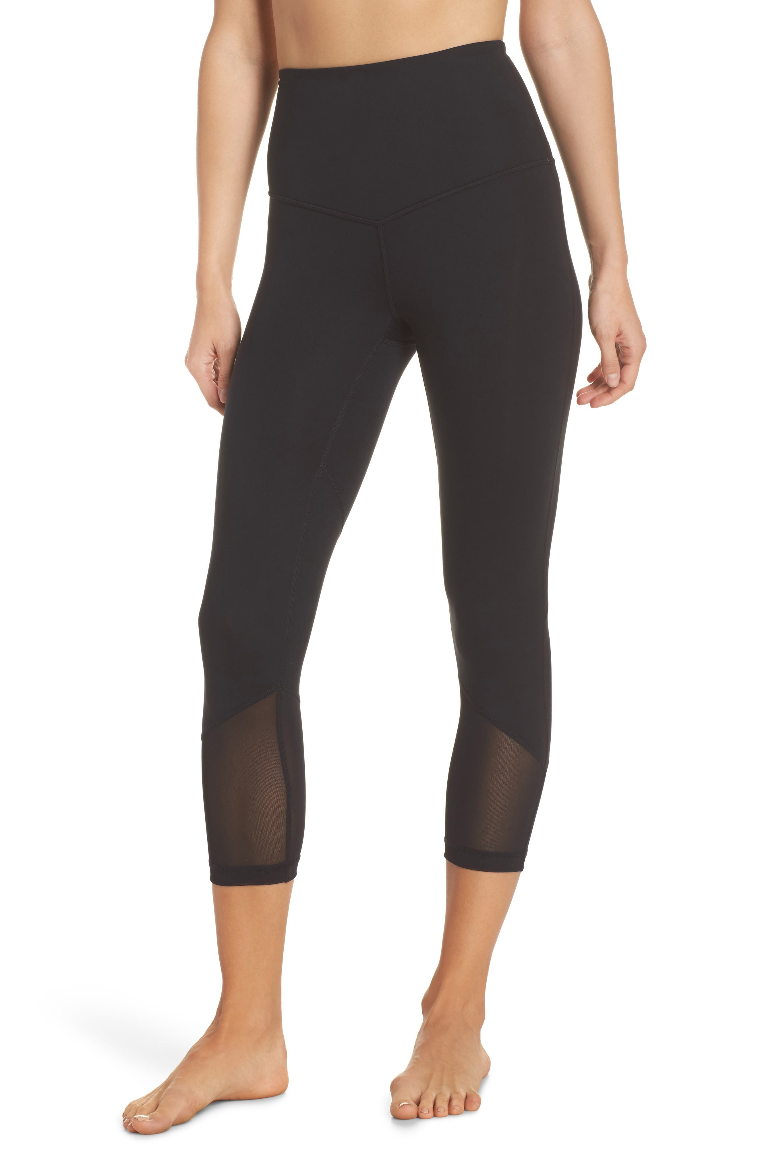 High Waist Gemini Light Crop Leggings,                             Main thumbnail 1, color,                             Black
