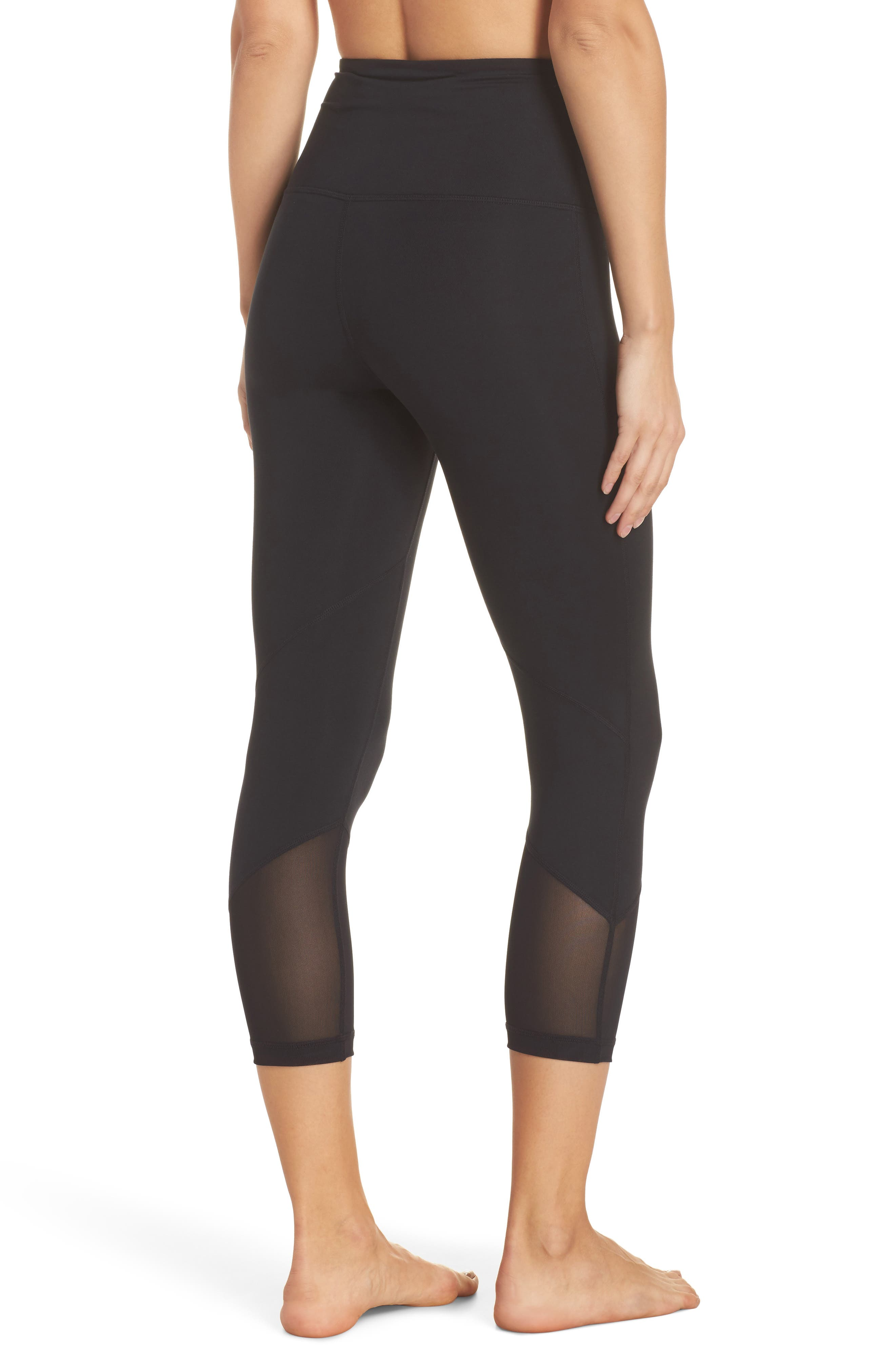 High Waist Gemini Light Crop Leggings,                             Alternate thumbnail 2, color,                             Black