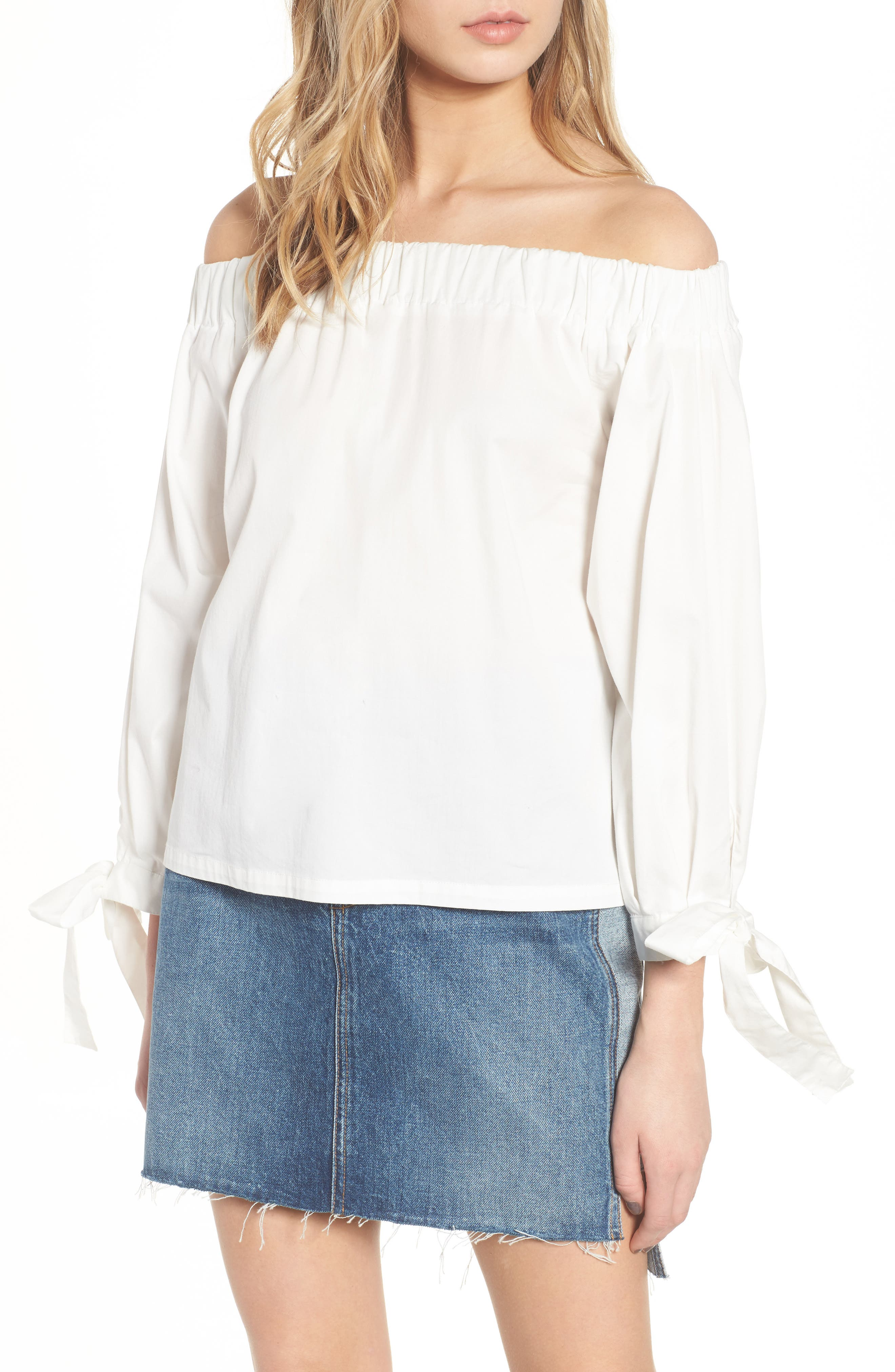 Off the Shoulder Top,                         Main,                         color, White