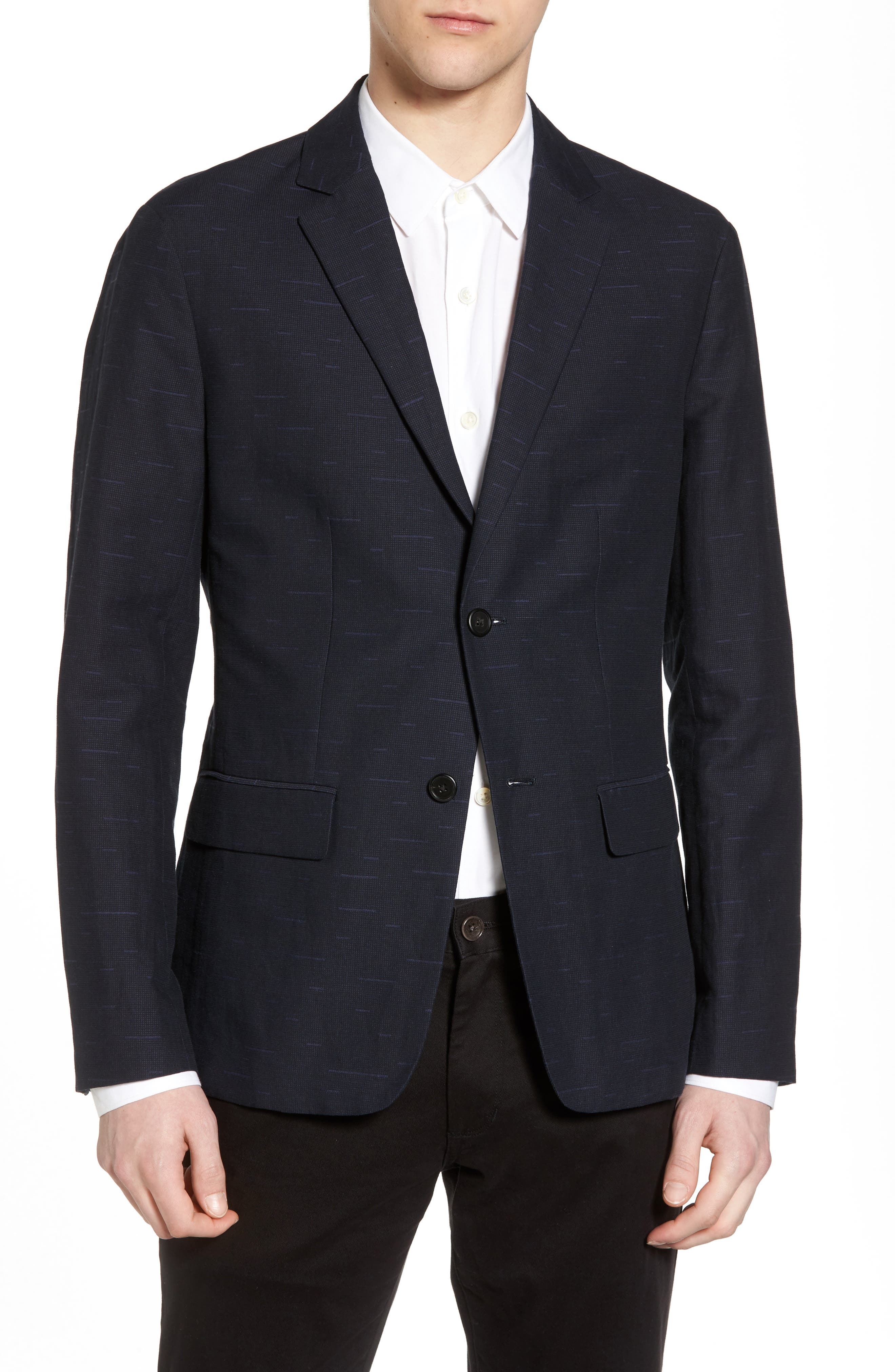 Clinton Trim Fit Jacquard Blazer,                         Main,                         color, Eclipse Multi