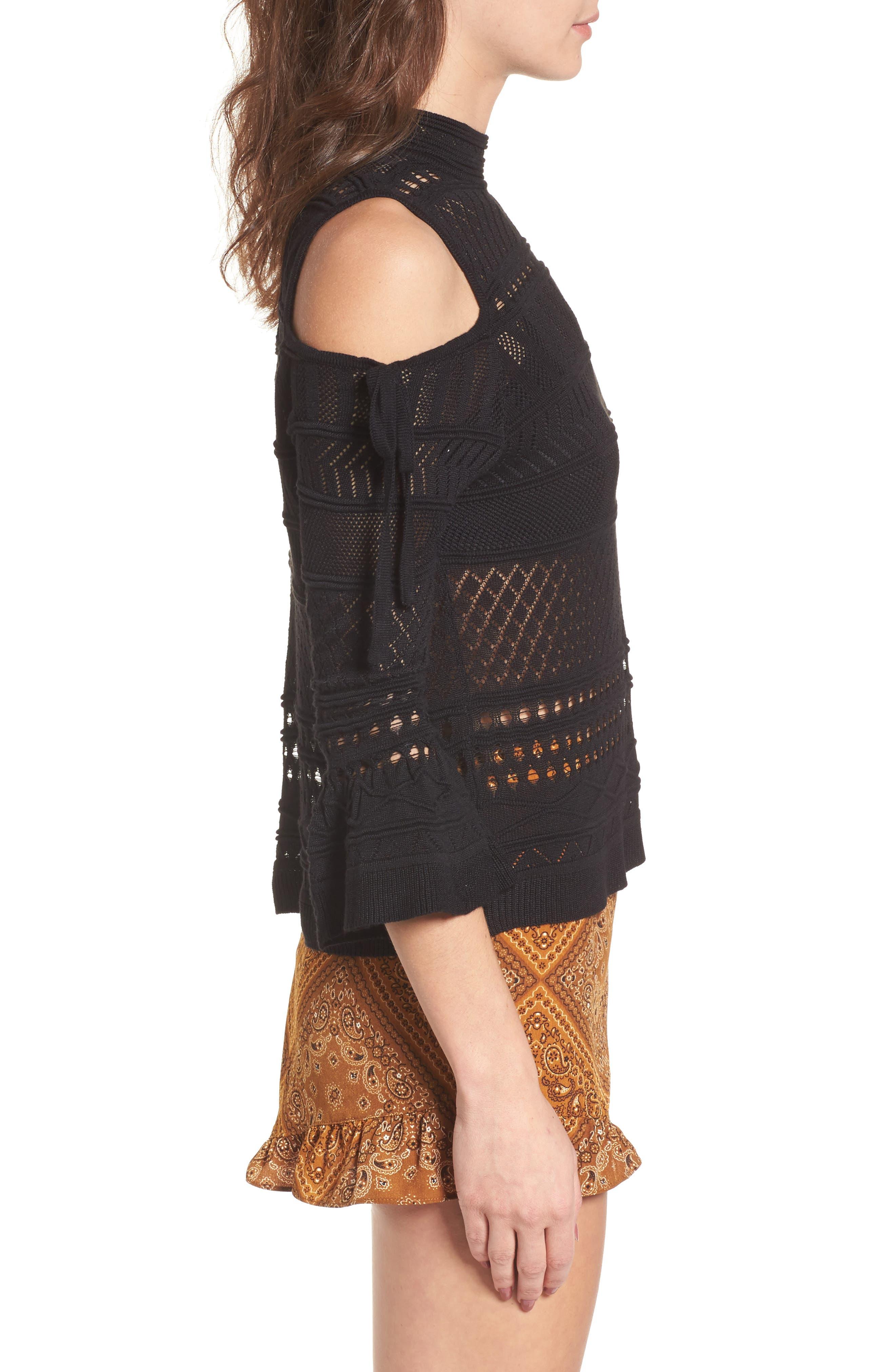 Alternate Image 3  - Lira Clothing Annabel Cold Shoulder Pointelle Sweater
