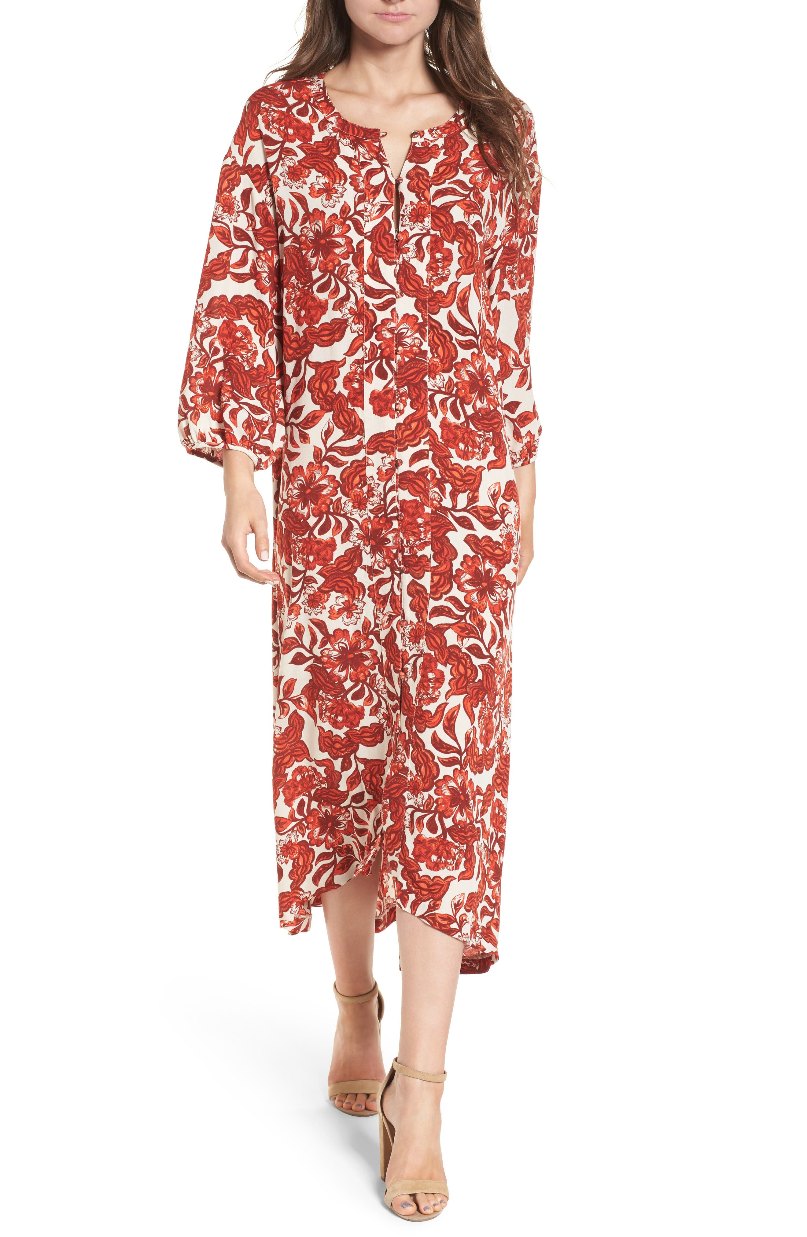 Floral Print Maxi Dress,                         Main,                         color, Red Lava Snap Floral