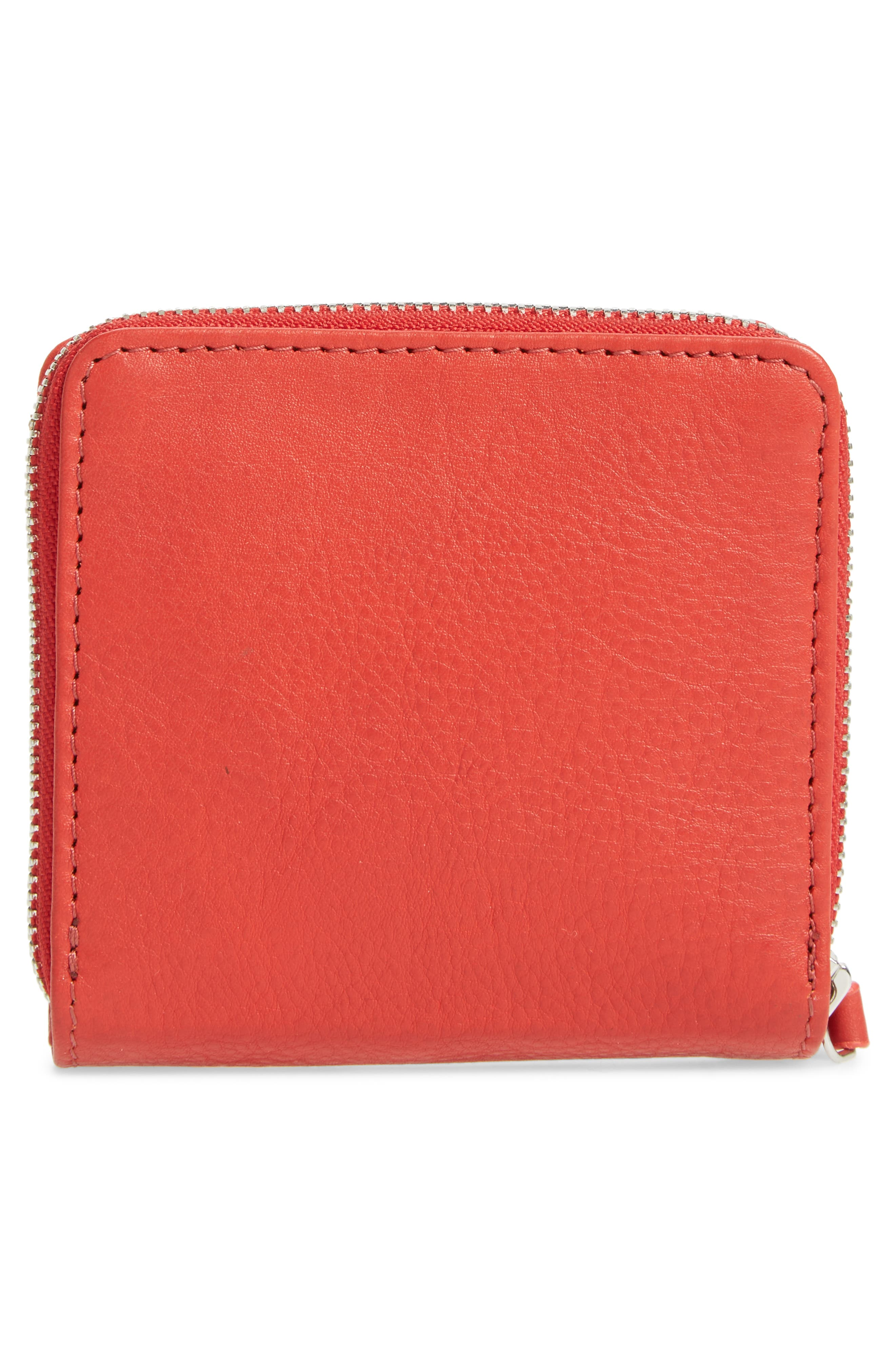 Leather Zip Around Wallet,                             Alternate thumbnail 4, color,                             Red