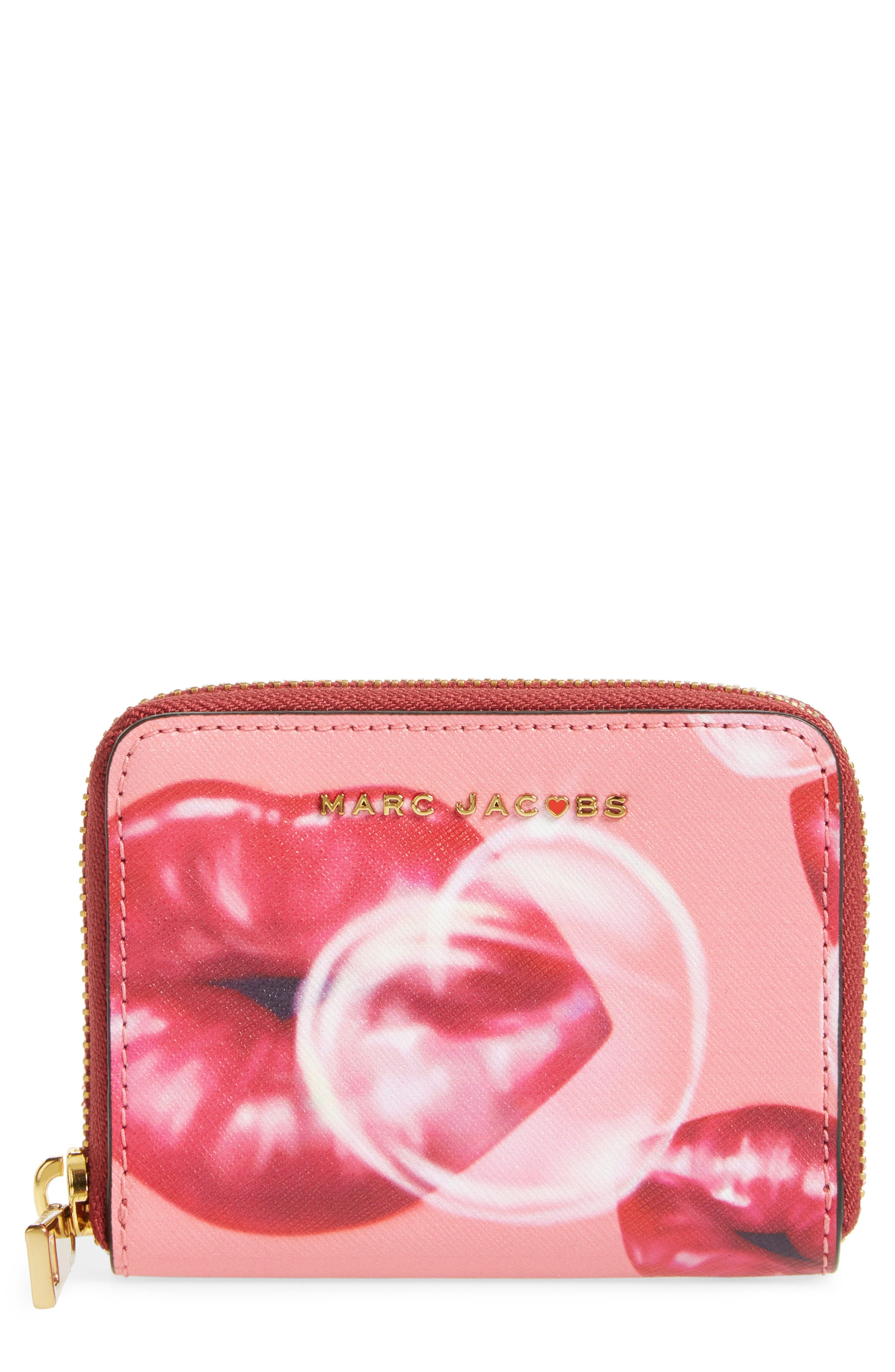 Lips Saffiano Leather Zip Around Wallet,                             Main thumbnail 1, color,                             Tea Rose Multi