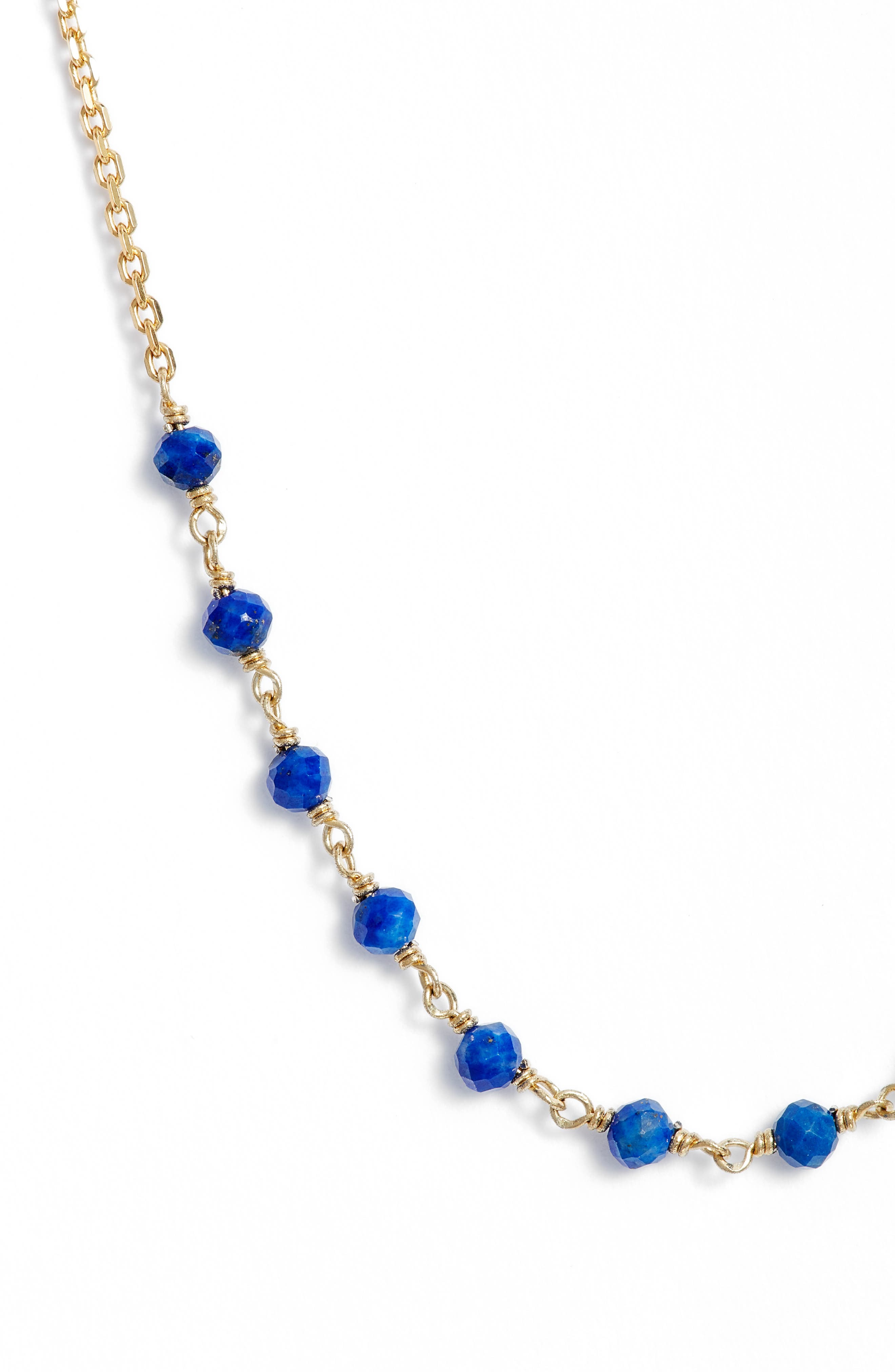 Gold & Bead Necklace,                             Alternate thumbnail 2, color,                             Gold/ Lapis