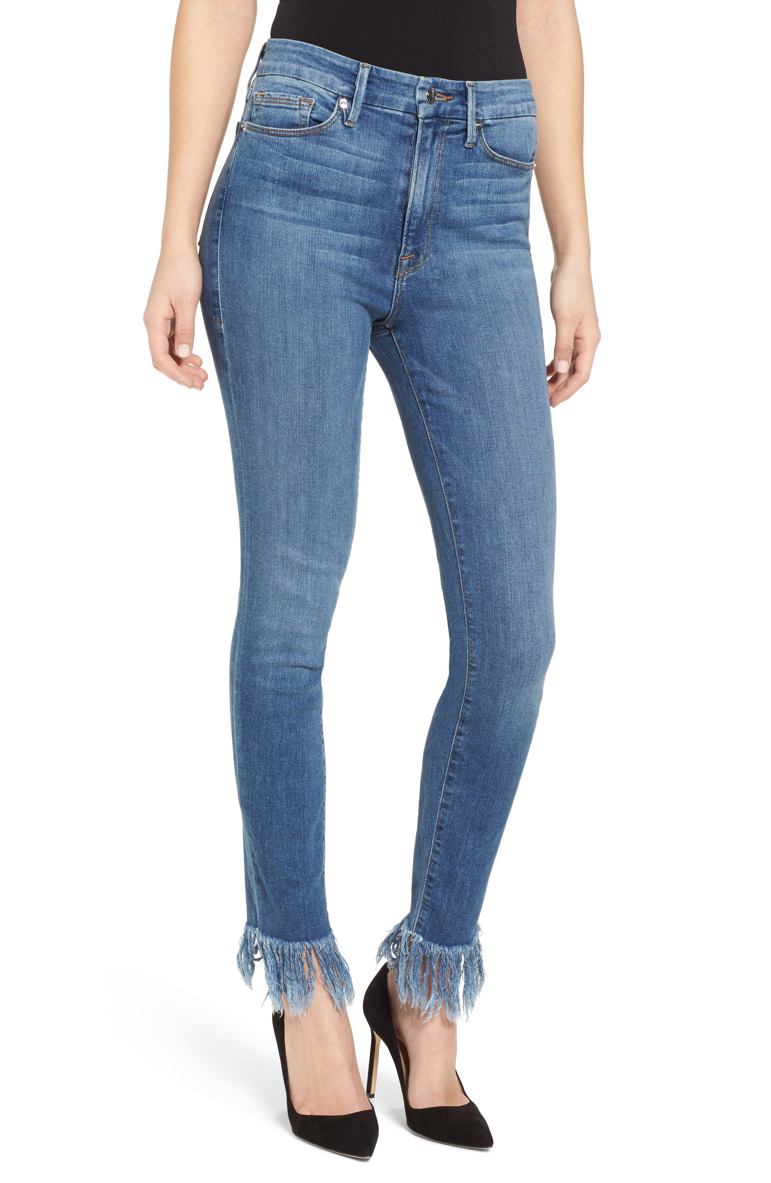 Good American Good Waist Extreme Fray Skinny Jeans (Blue 154) (Regular & Plus Size) (Nordstrom Exclusive)