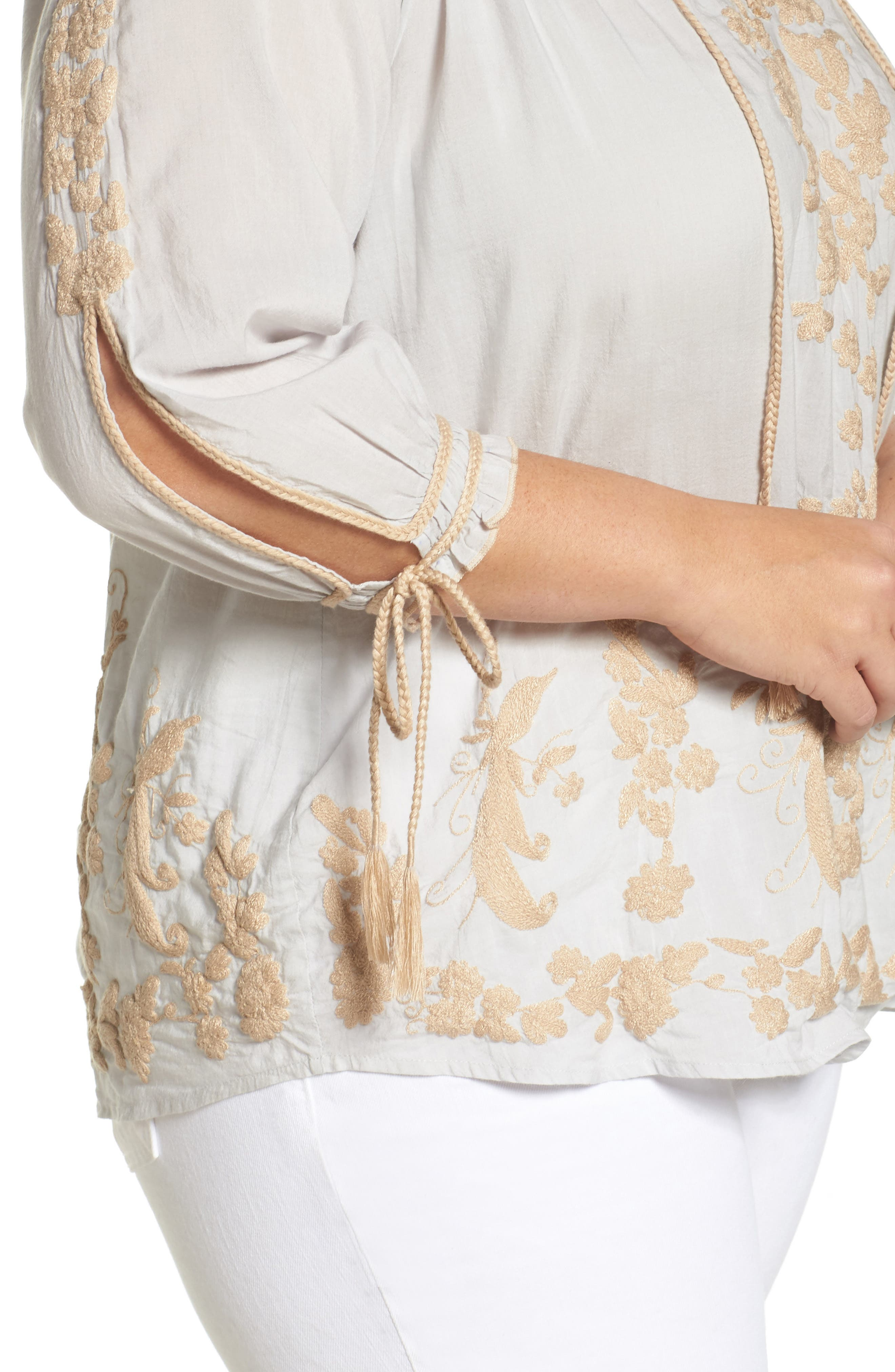 Embroidered Peasant Top,                             Alternate thumbnail 4, color,                             Ice