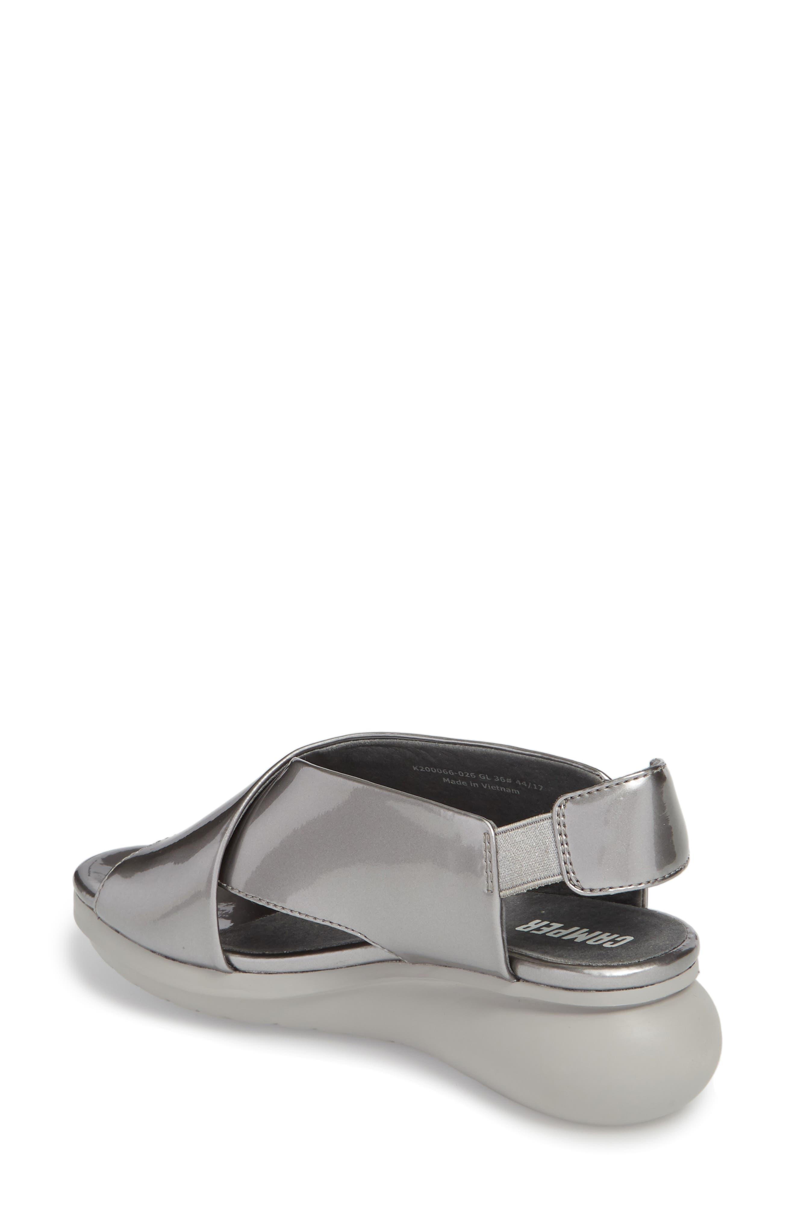 Balloon Wedge Sandal,                             Alternate thumbnail 2, color,                             Medium Gray Leather