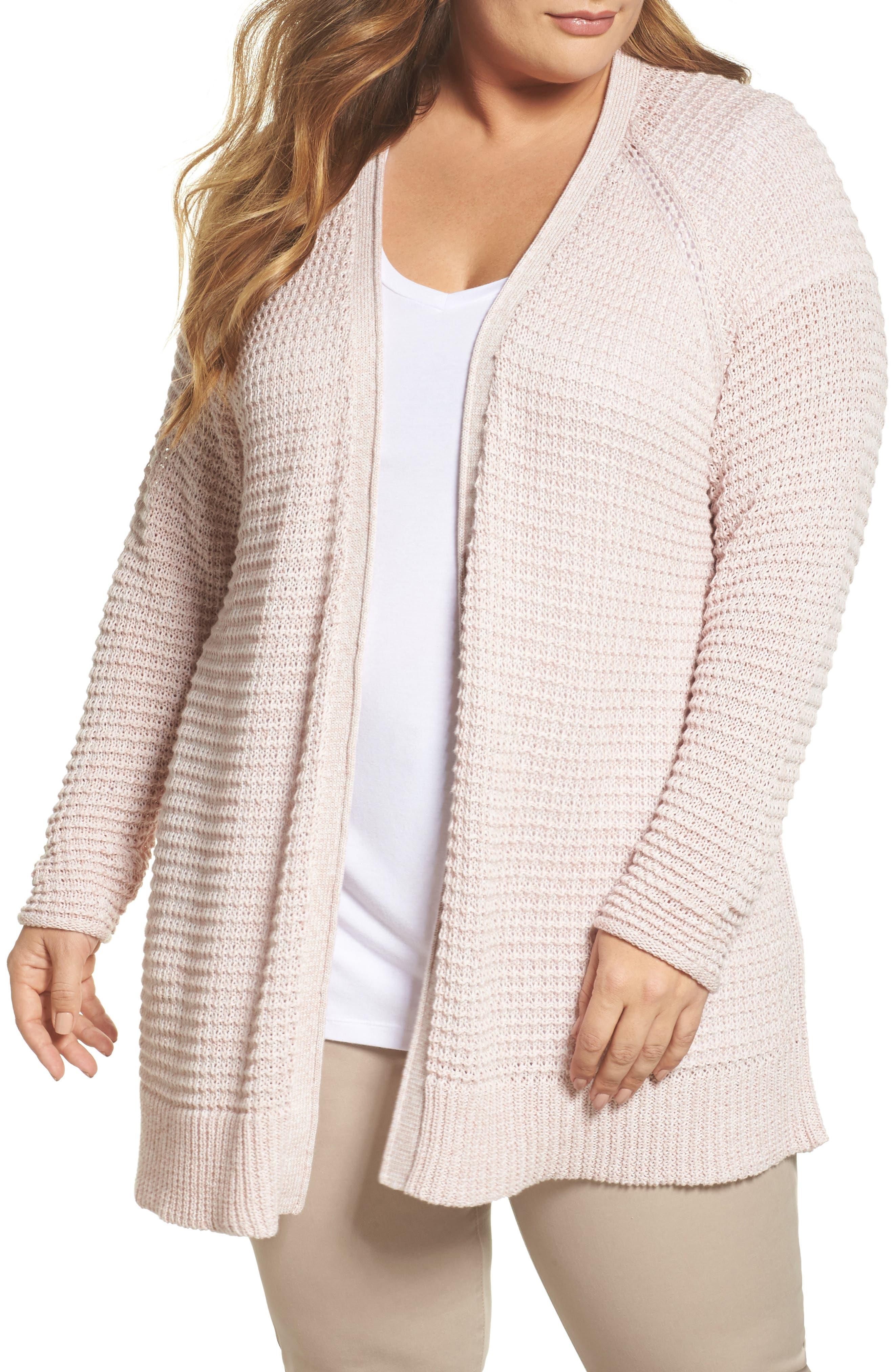 Easy Knit Cardigan,                         Main,                         color, Beige Linen Fern Marl